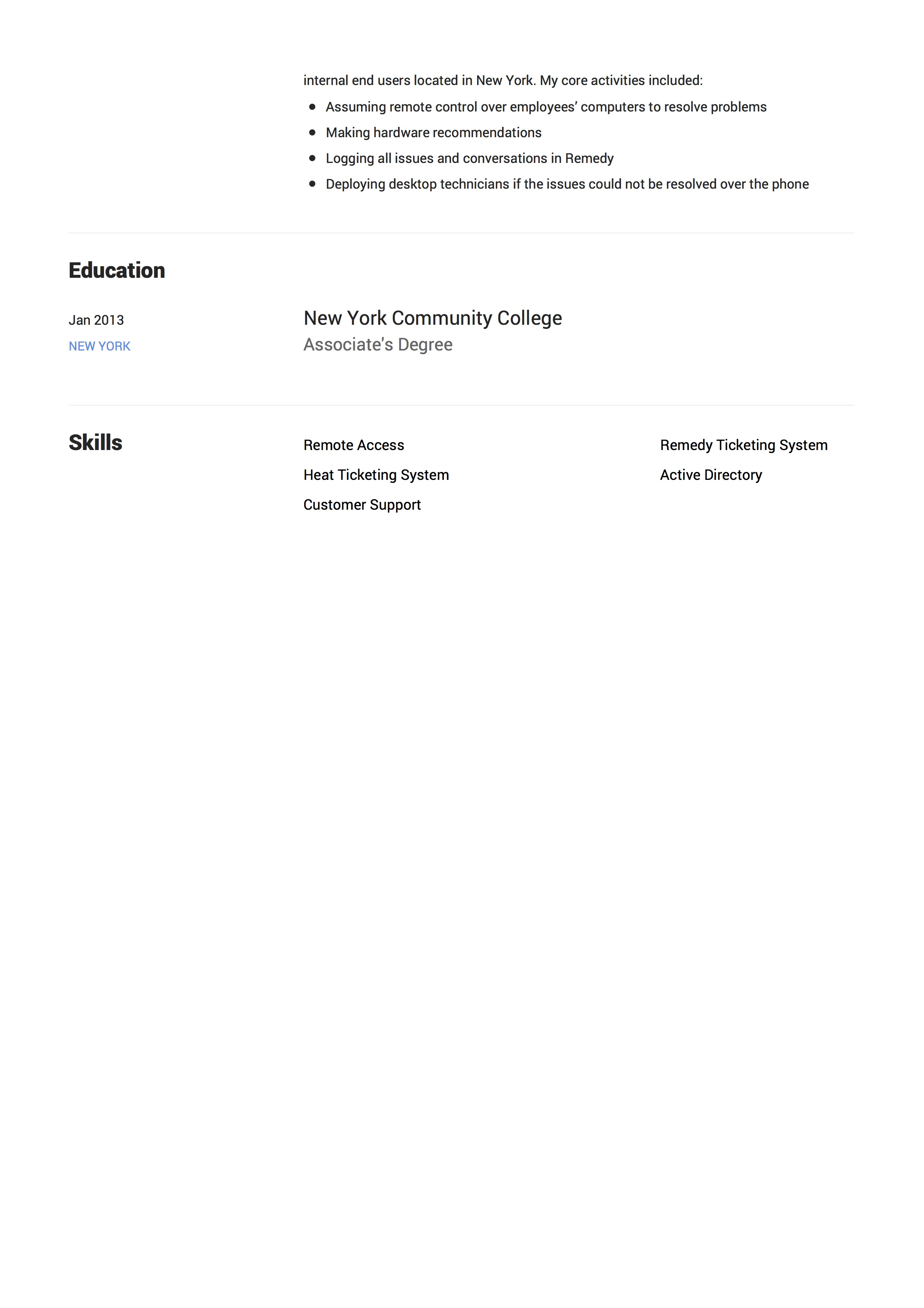 Resume Sample Technical Phone Support 2