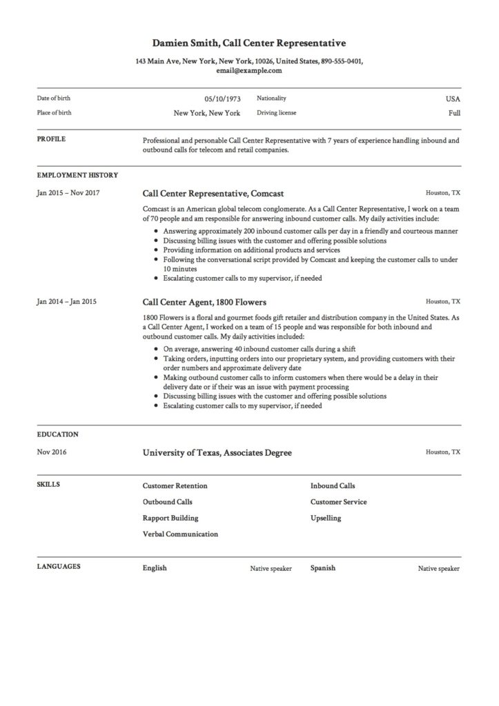 Resume Template Call Center Representative