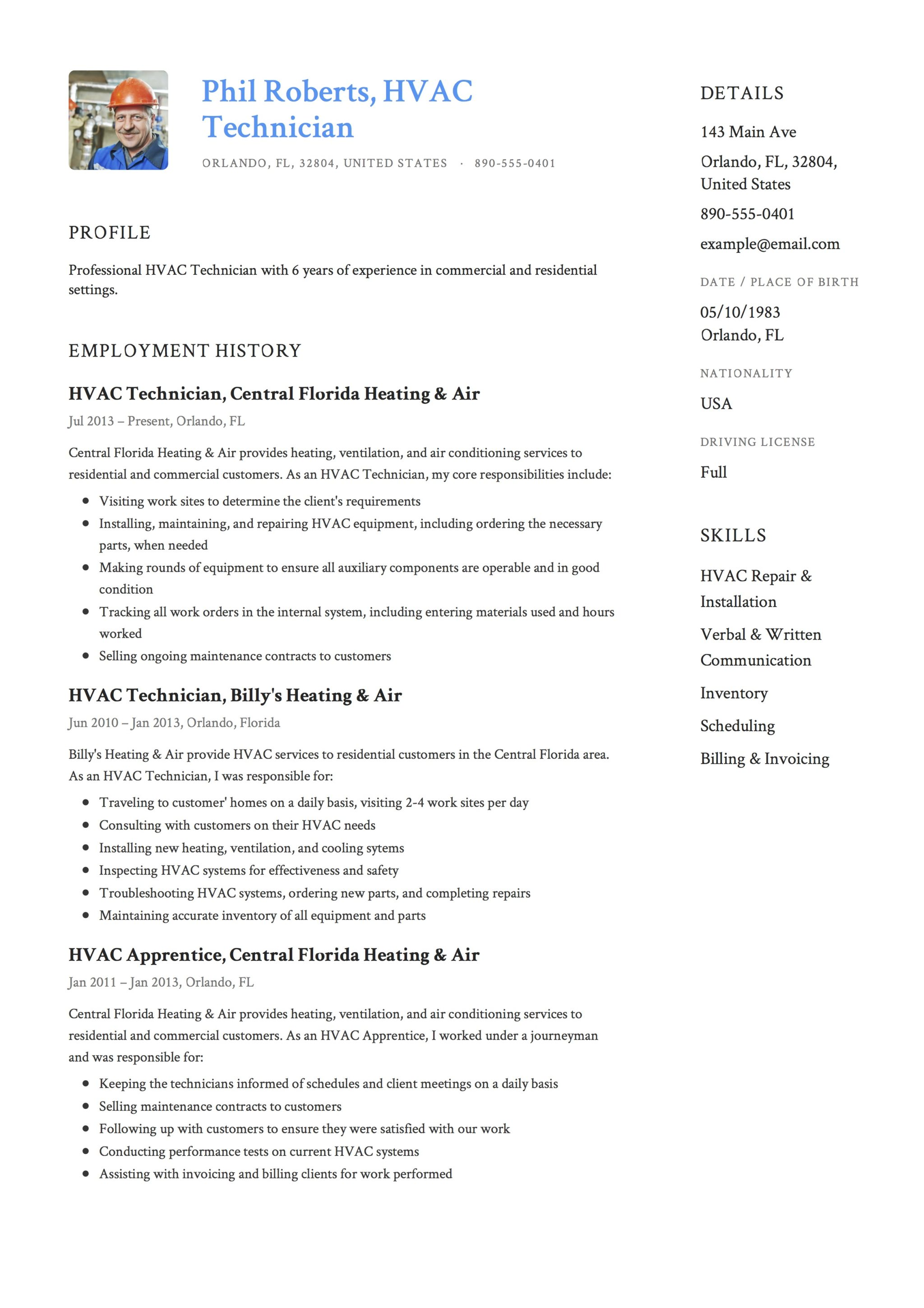 Blue Resume Template HVAC Technician