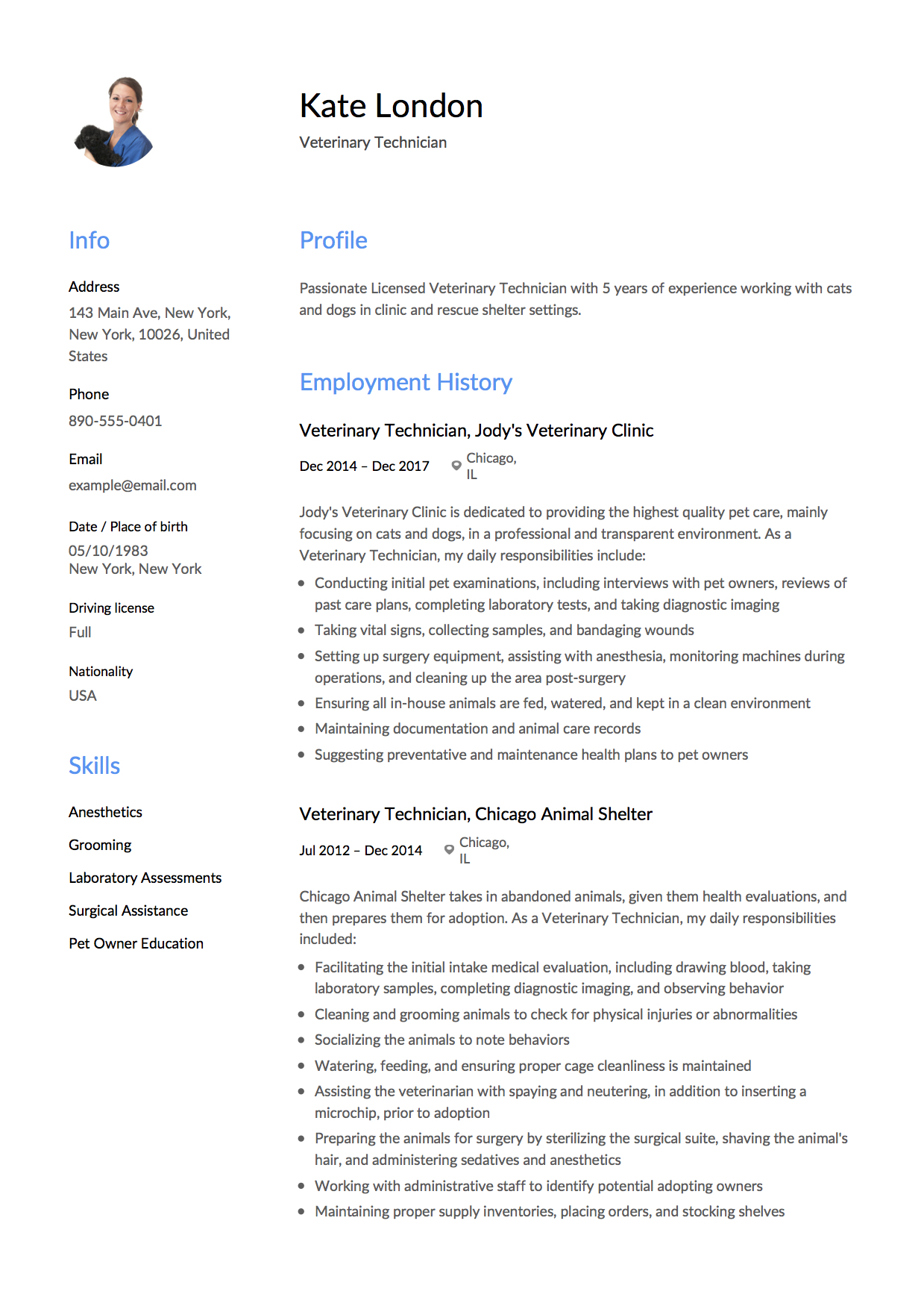 guide  veterinary technician resume    12 samples