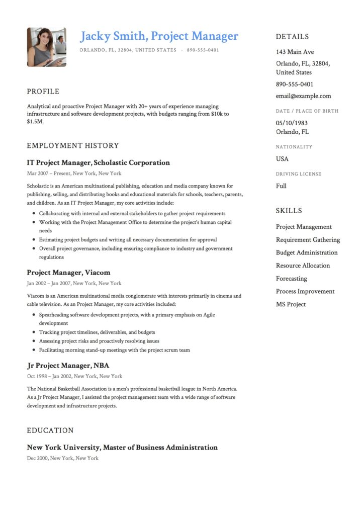 Sample Resume - Project Manager