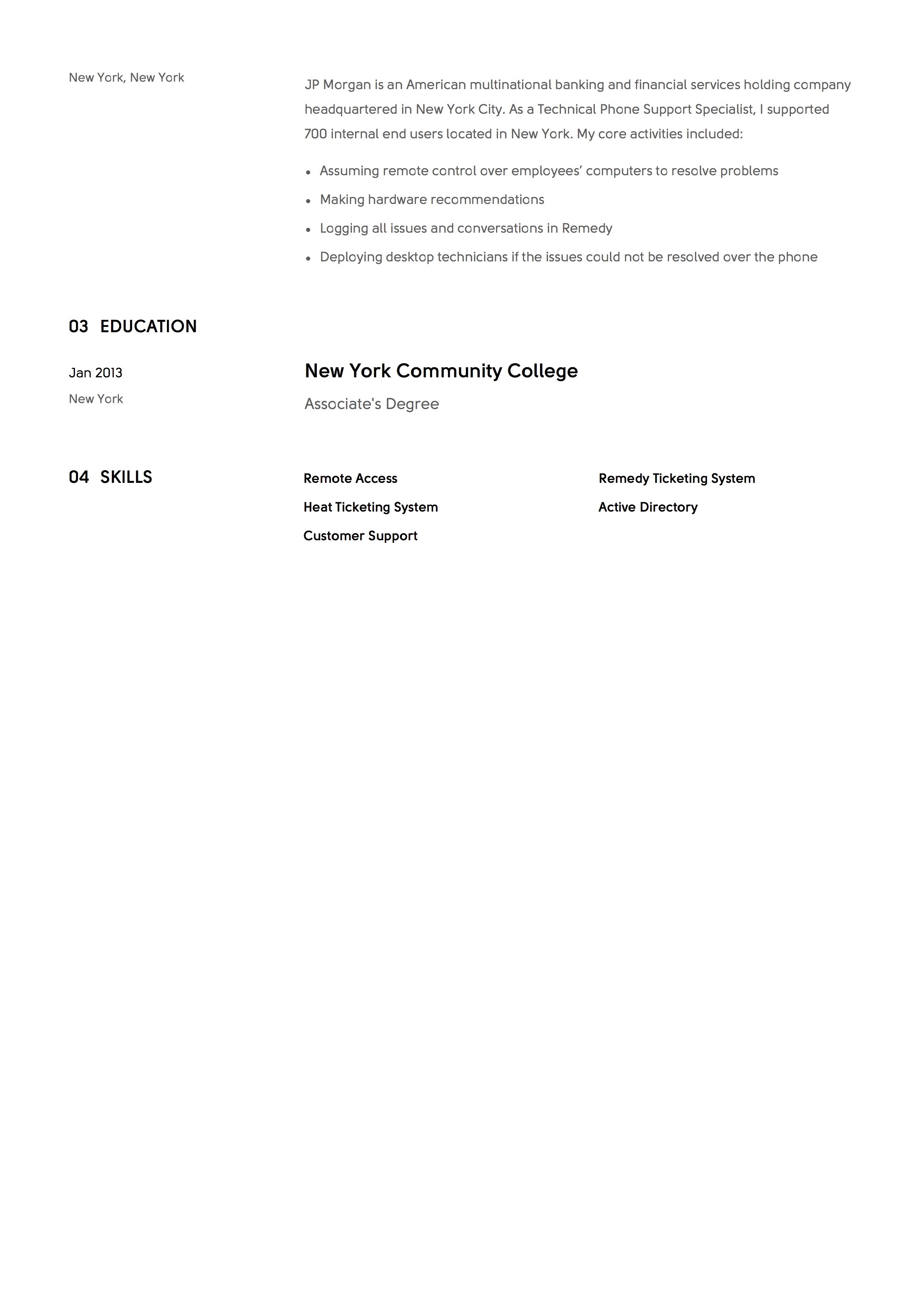 Sample Resume Technical Phone Support 2