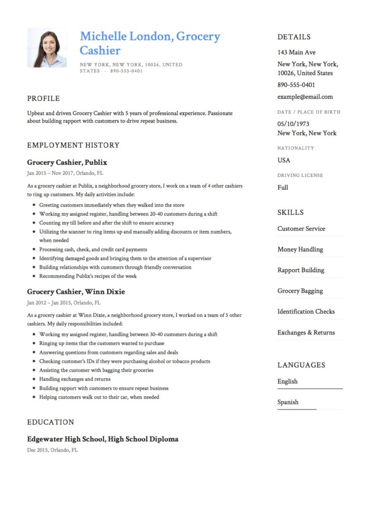 Template Grocery Cashier Resume