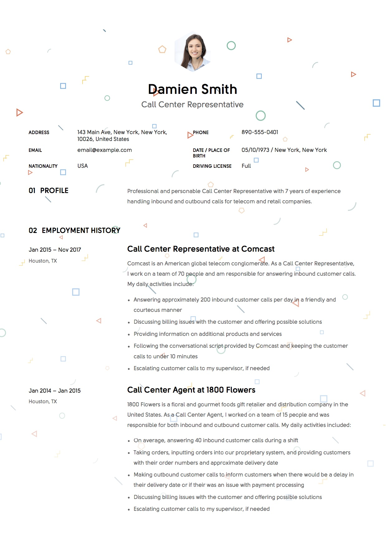 Template Resume - Call Center Representative