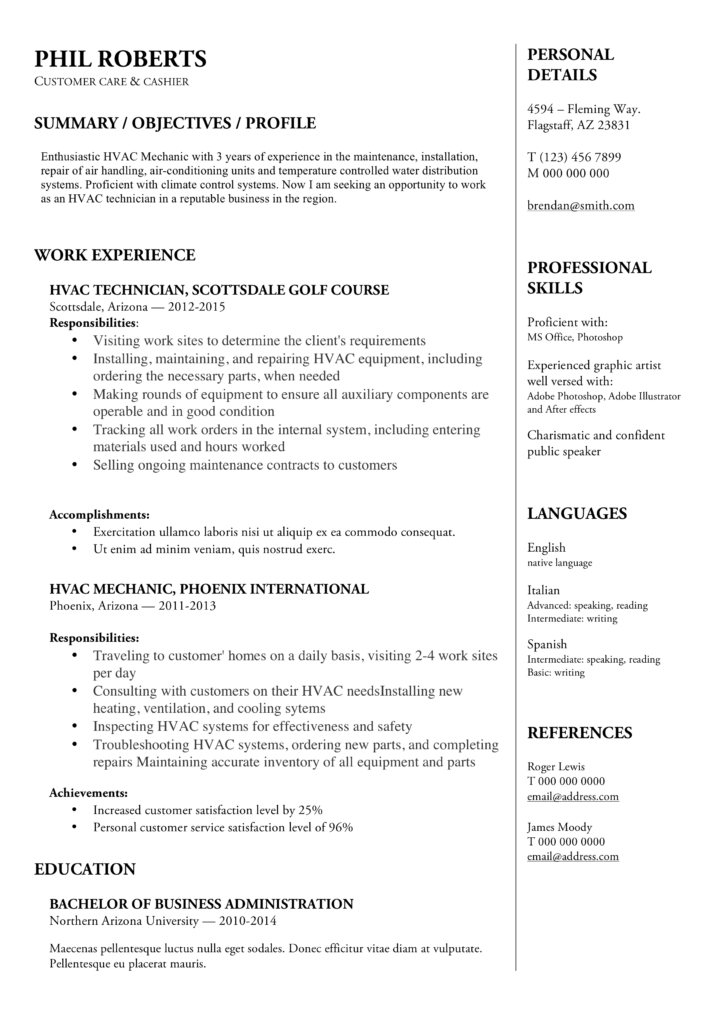 Resume Example Of a HVAC Technician