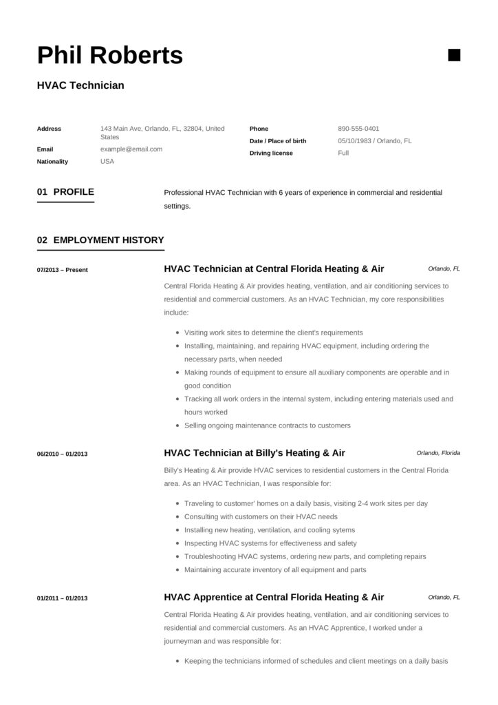 HVAC Technician CV