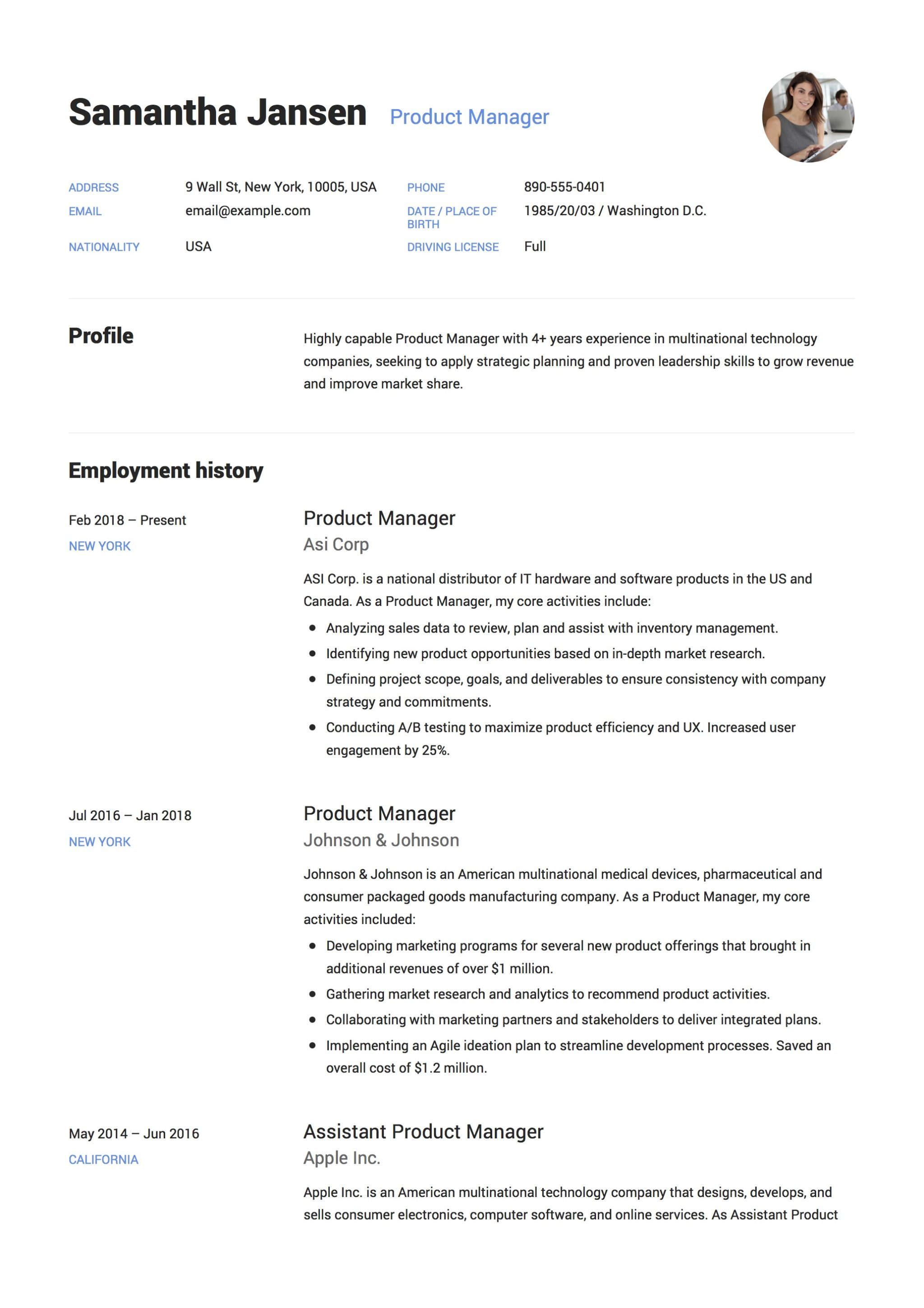 product manager resume  u0026 guide