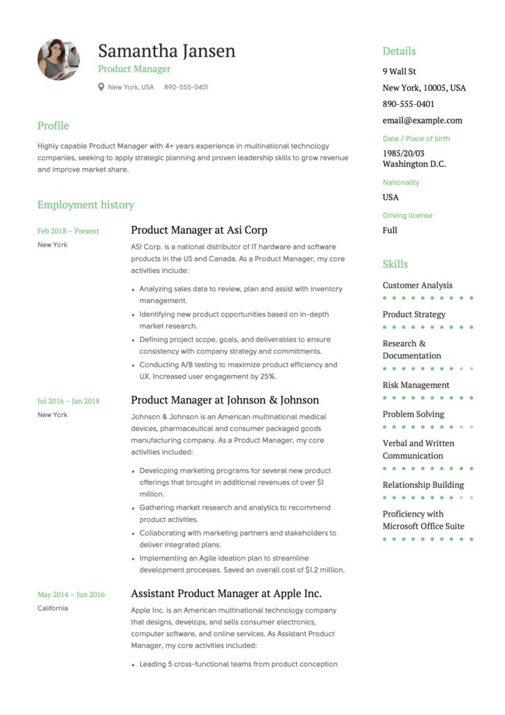 Resume Example Product Manager
