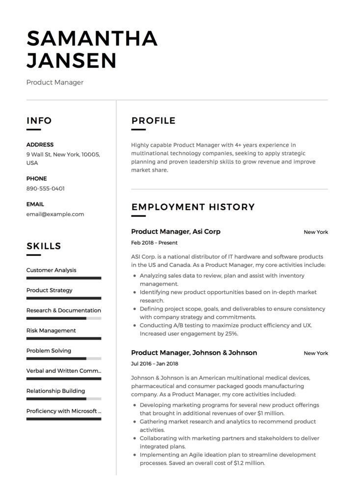 Resume Sample Product Manager Experienced