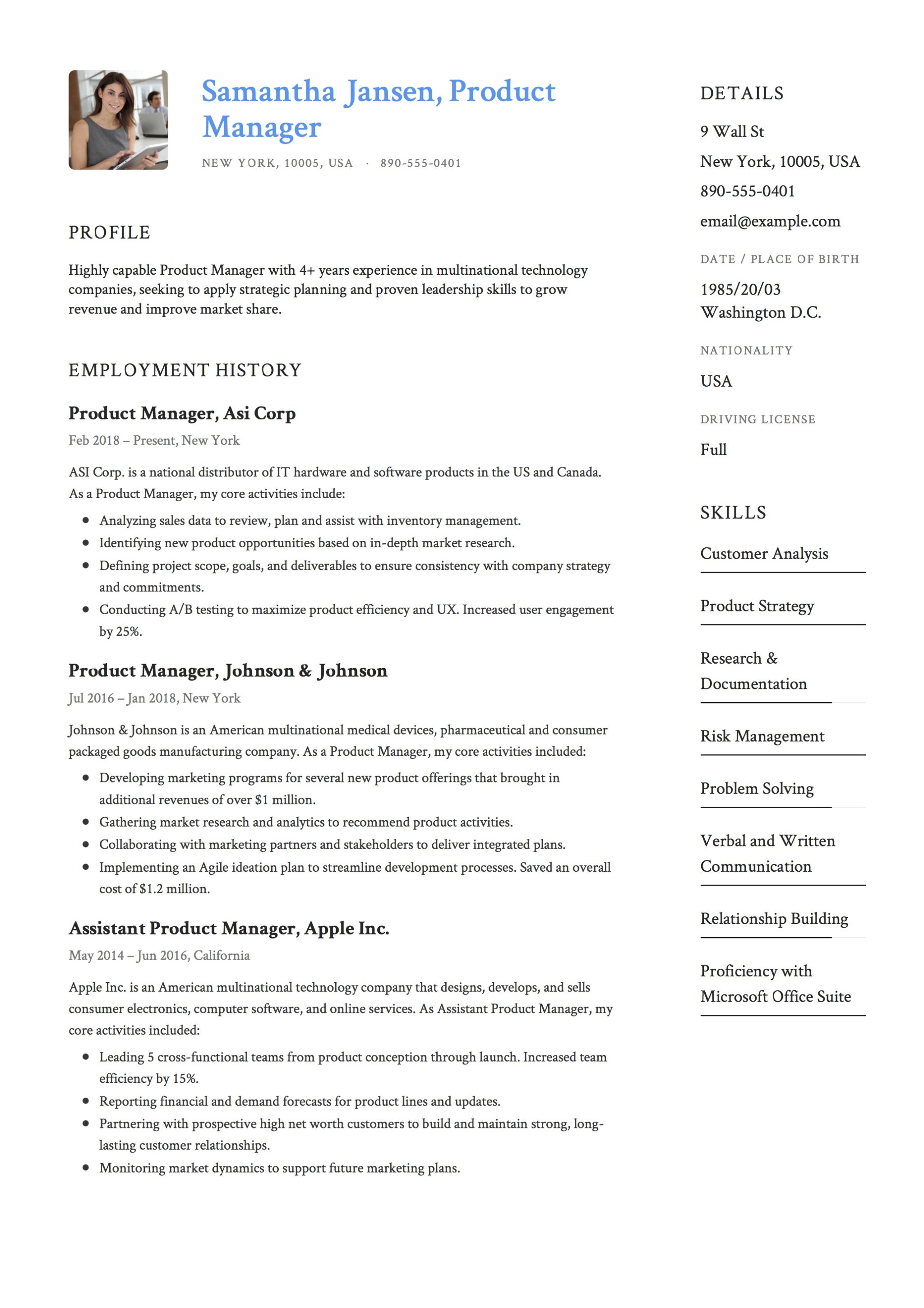 Sample Resume - Product Manager