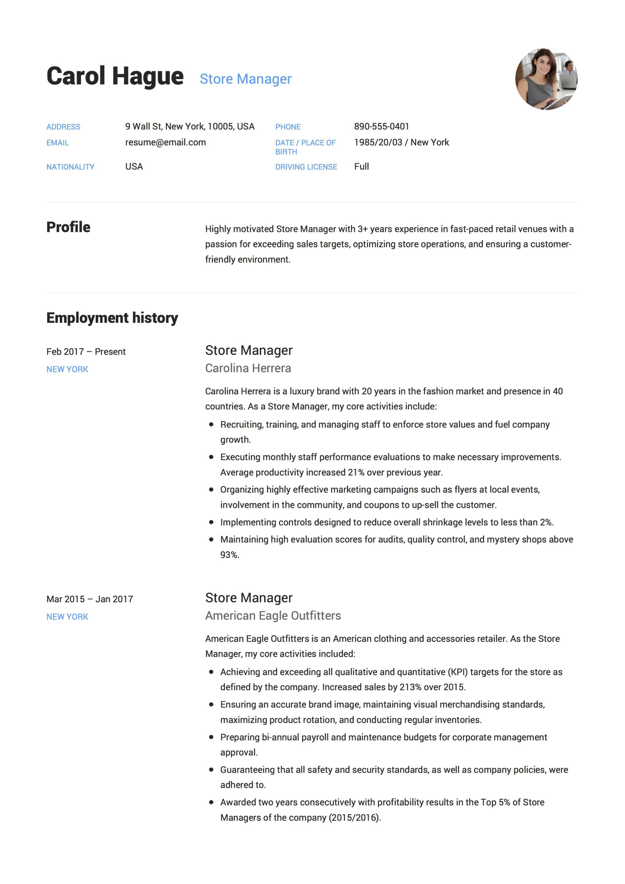 Store Manager Resume Guide 12 Resume Samples Pdf 2020