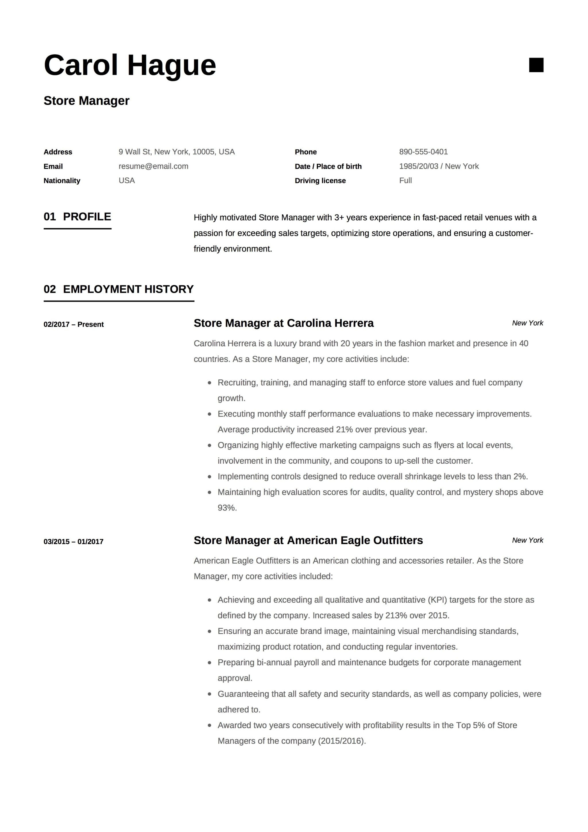 Carol Hague Store Manager Resume Example