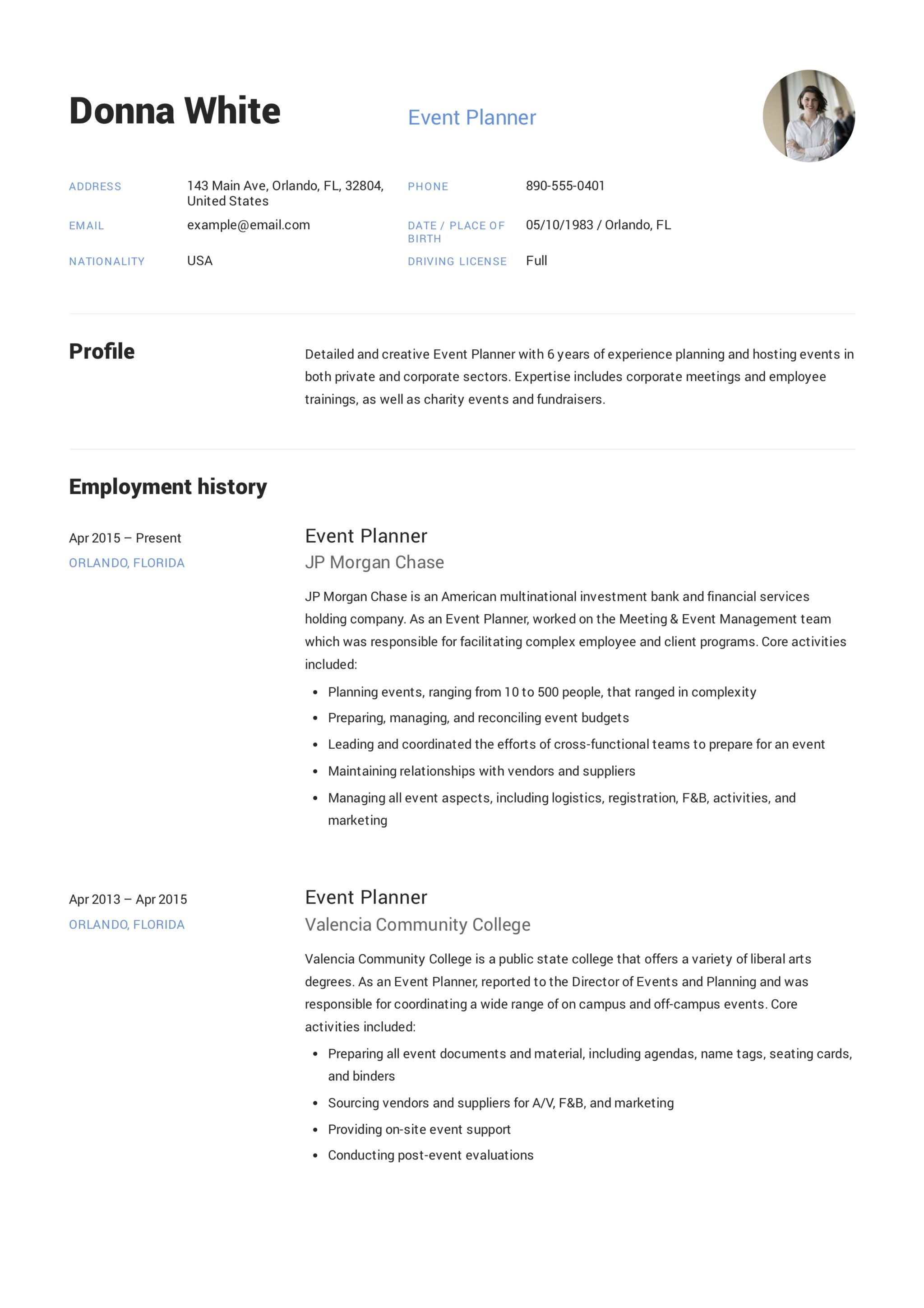 Guide Event Planner Resume 12 Samples Pdf Word 2020