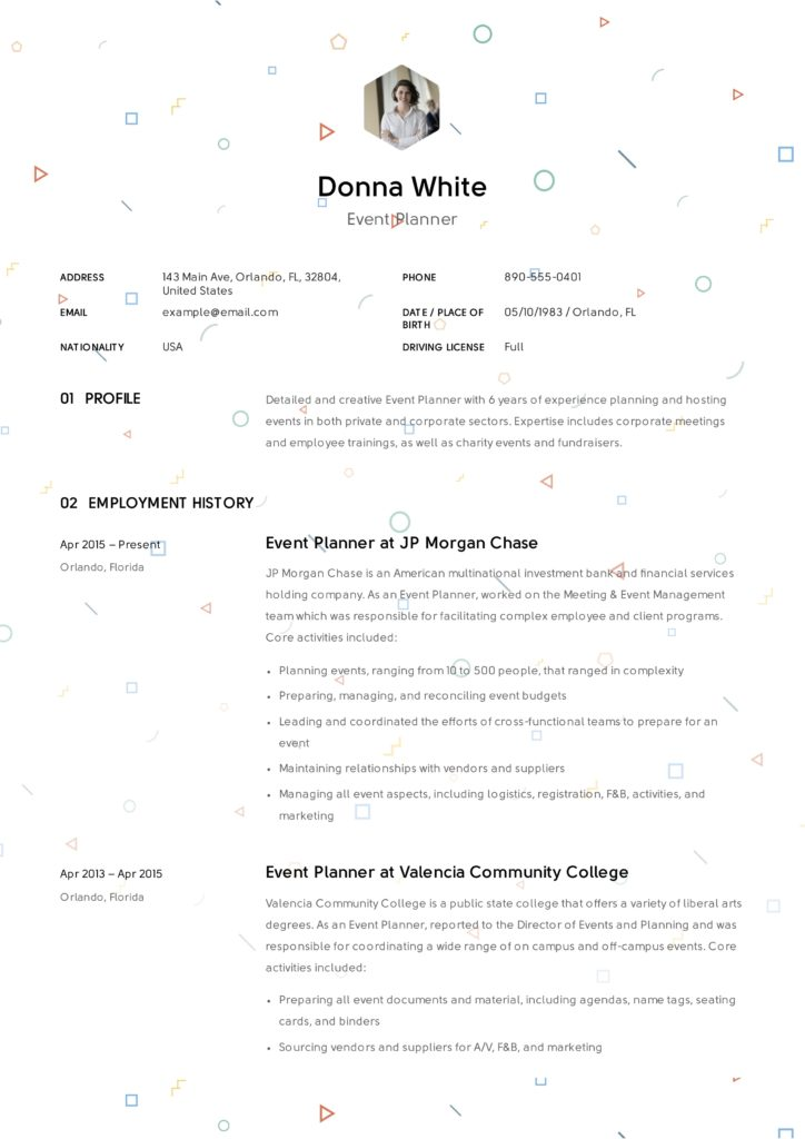 Event-Planner-Resume-Template-724x1024 Sample Format Of Resume For Driver Applicant on