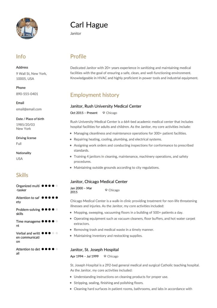 Janitor Resume Example Template
