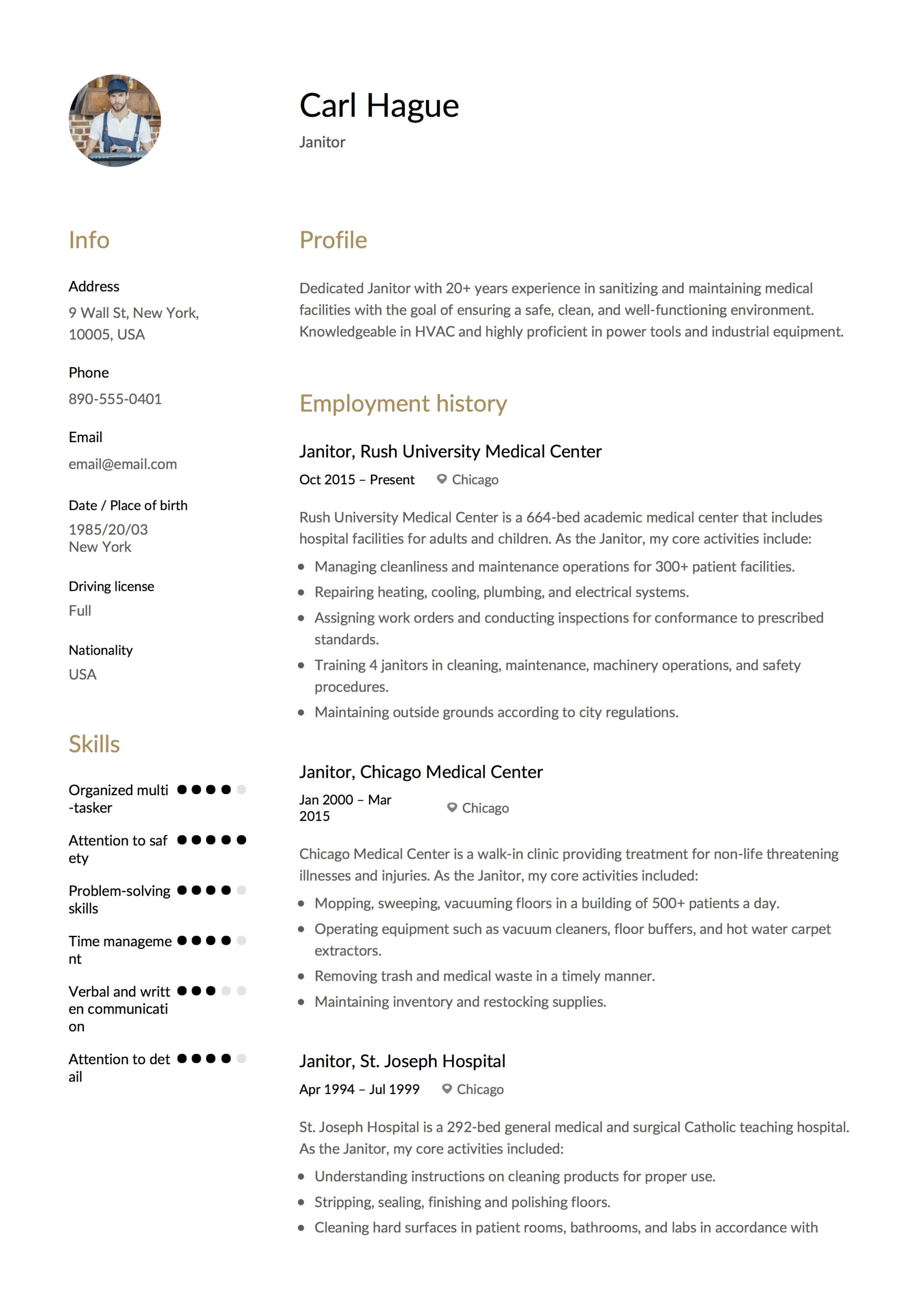Janitor Resume Amp Writing Guide 12 Examples Pdf 2020