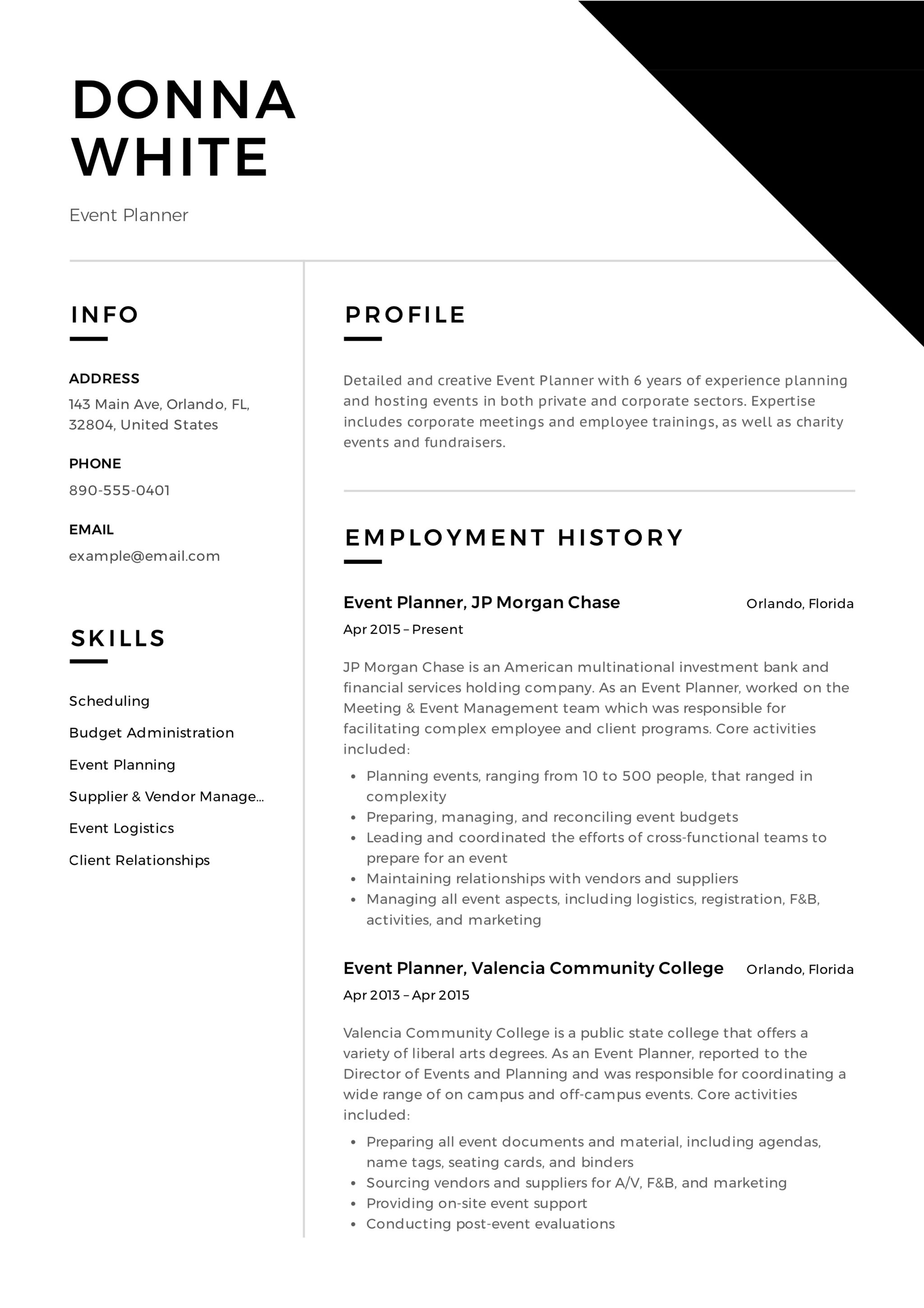 guide  event planner resume