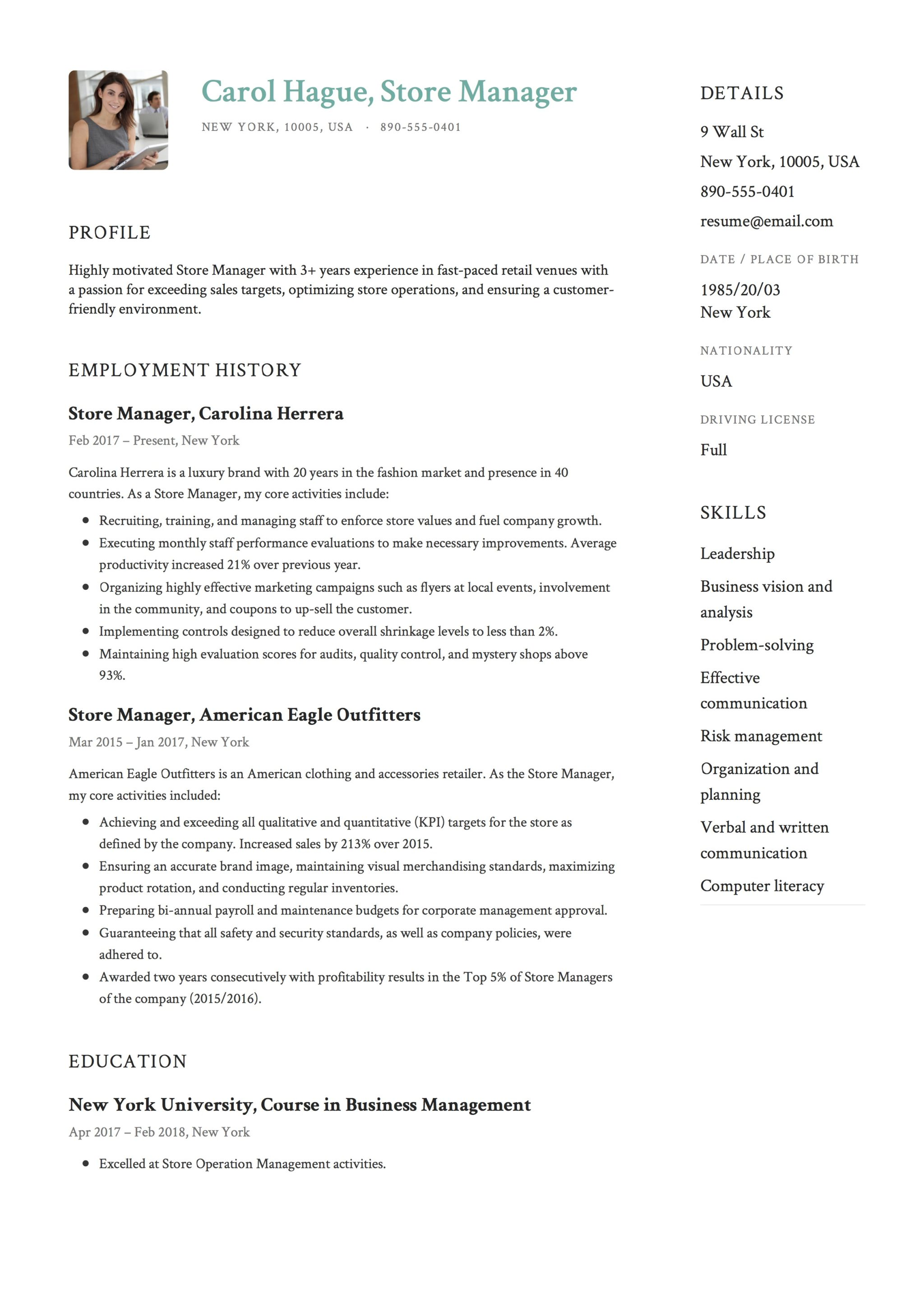 Photo Resume Example Store Manager