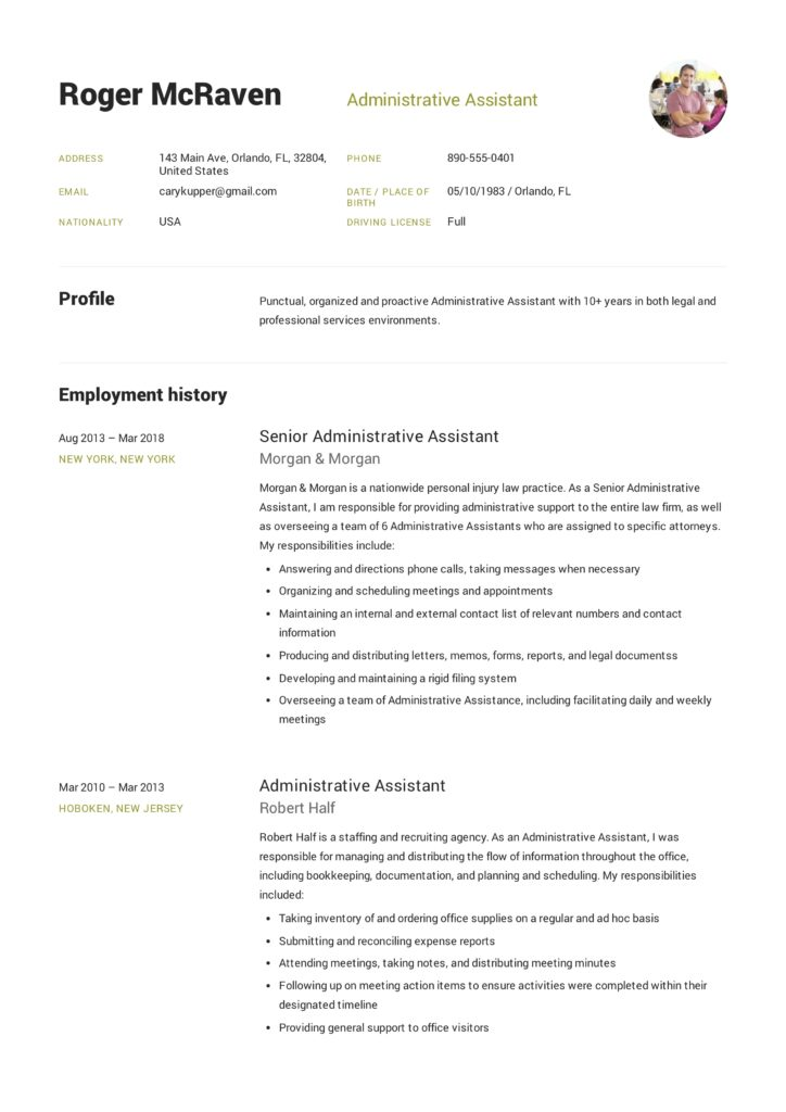 Resume Template Administrative Assistant