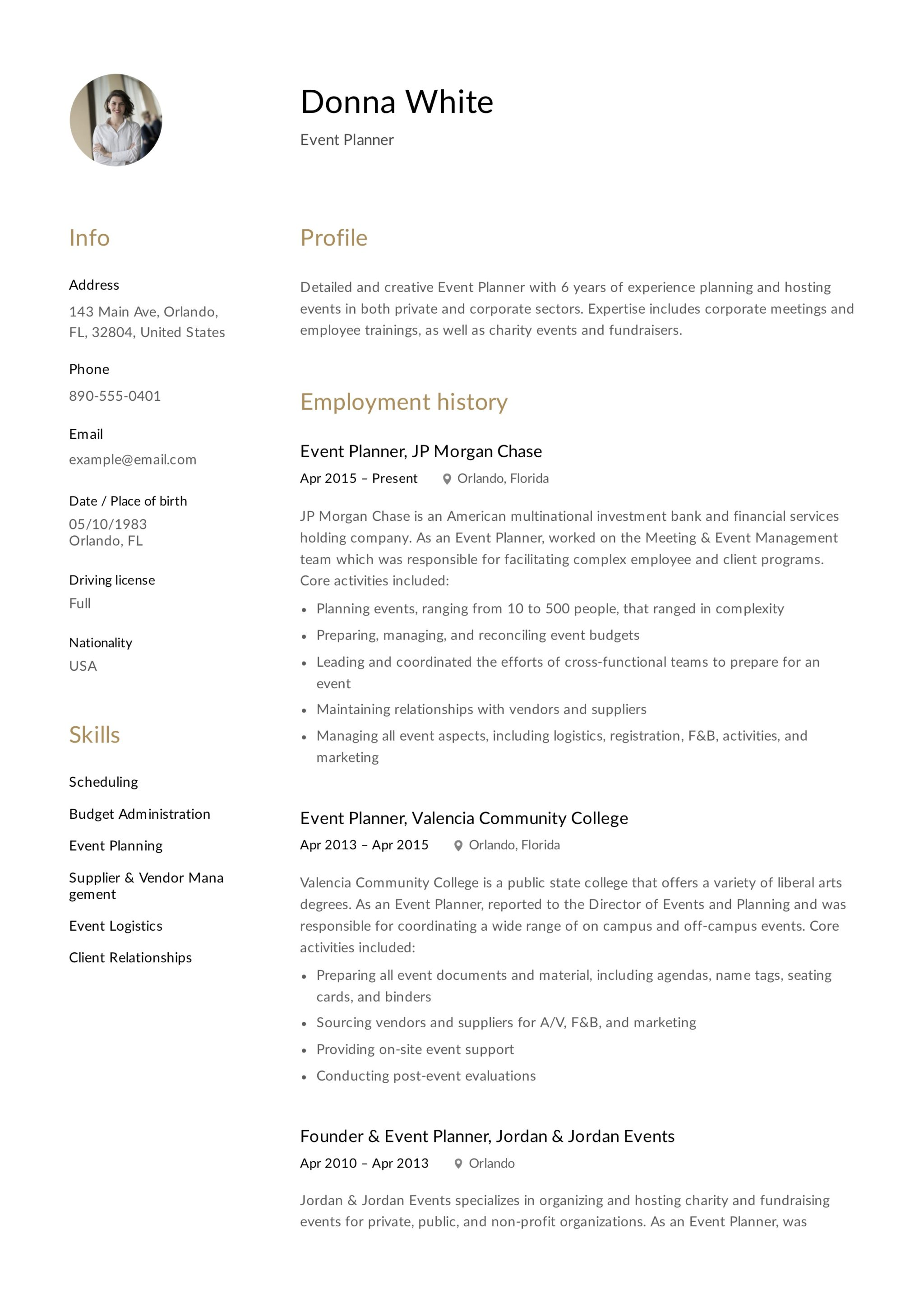 Resume Template Event Planner