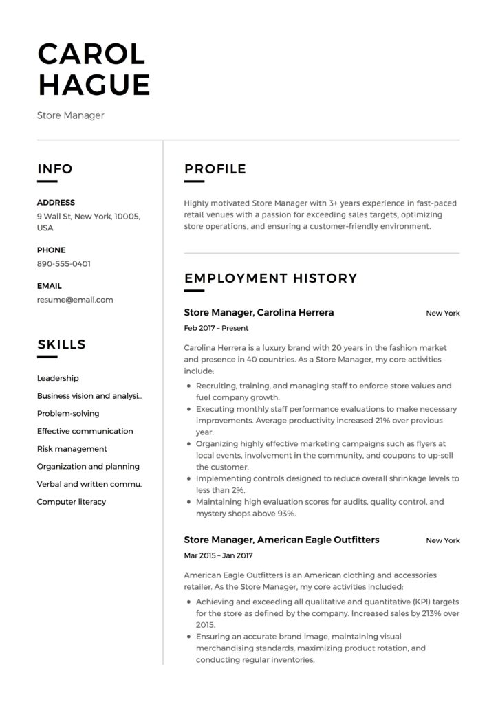Store Manager Resume Amp Guide 12 Resume Samples Pdf 2020