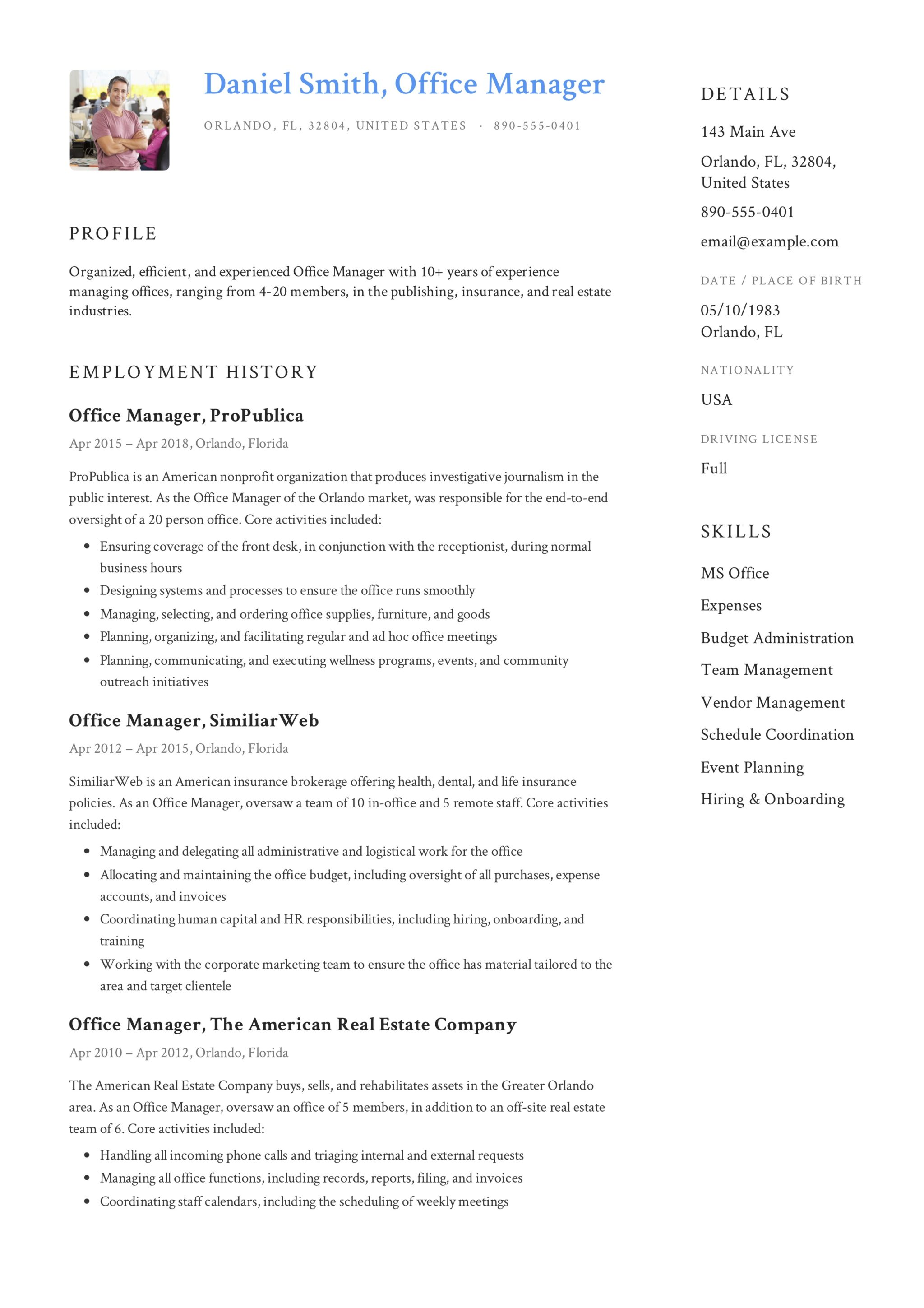 Daniel Smith Resume Office Manager