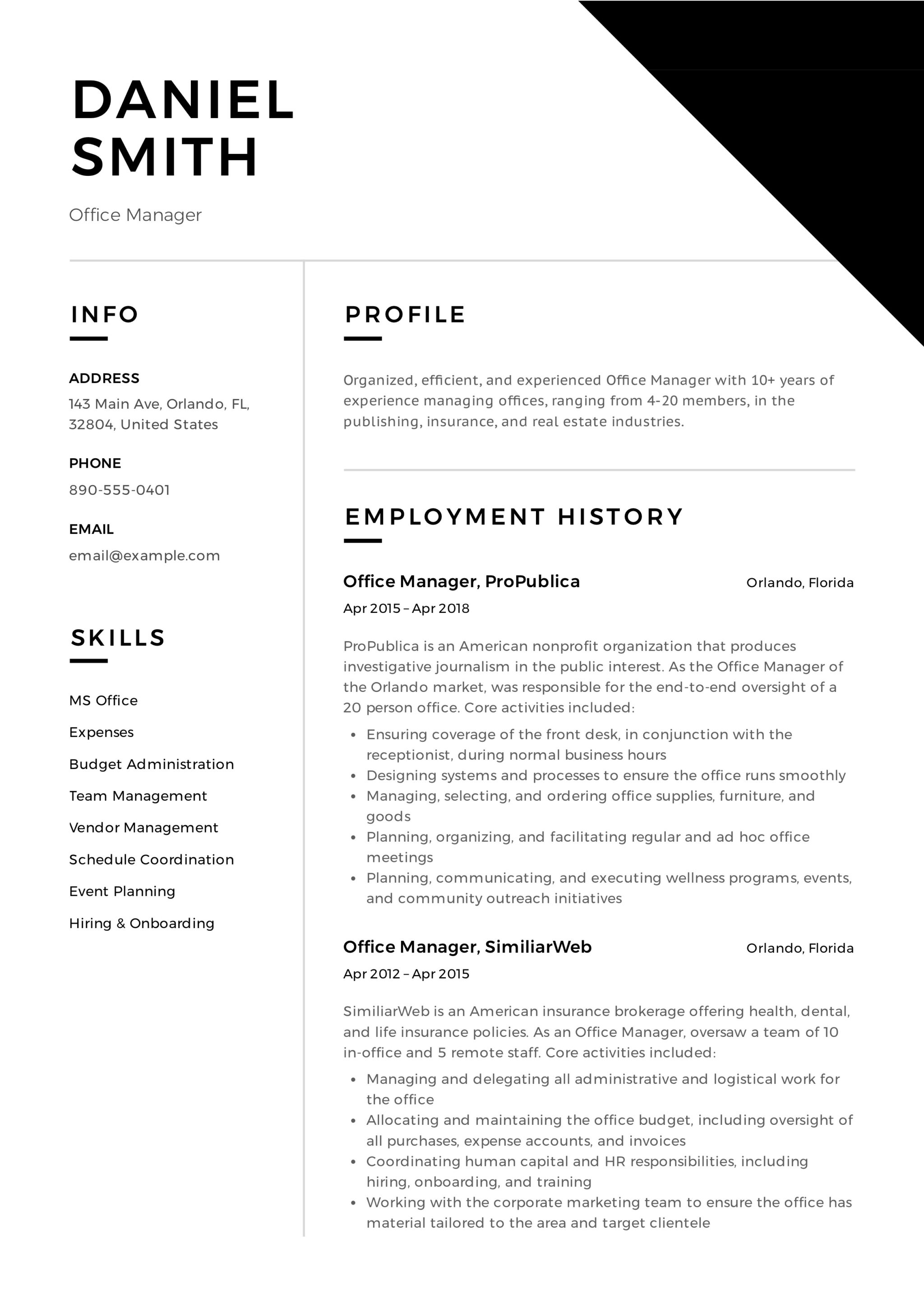 office manager resume  u0026 guide