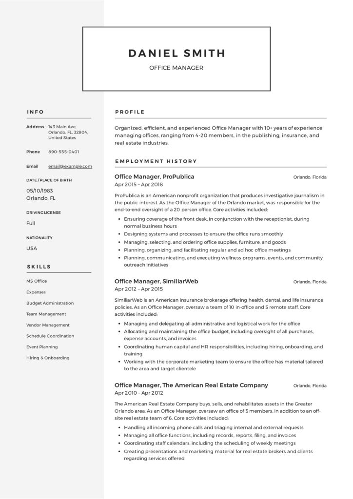 Resume Office Manager Sample