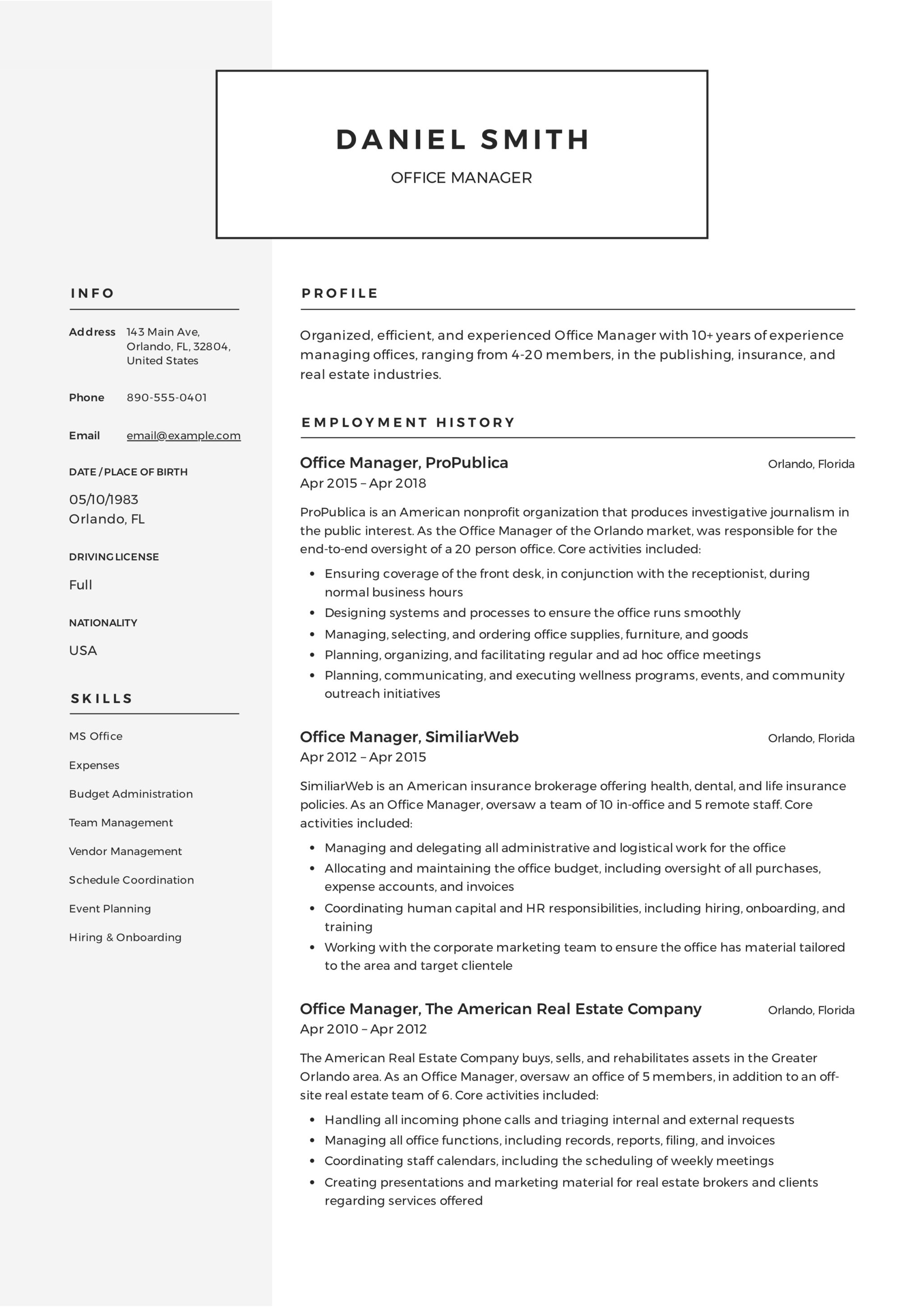 Office Manager Resume Guide 12 Samples Pdf 2020