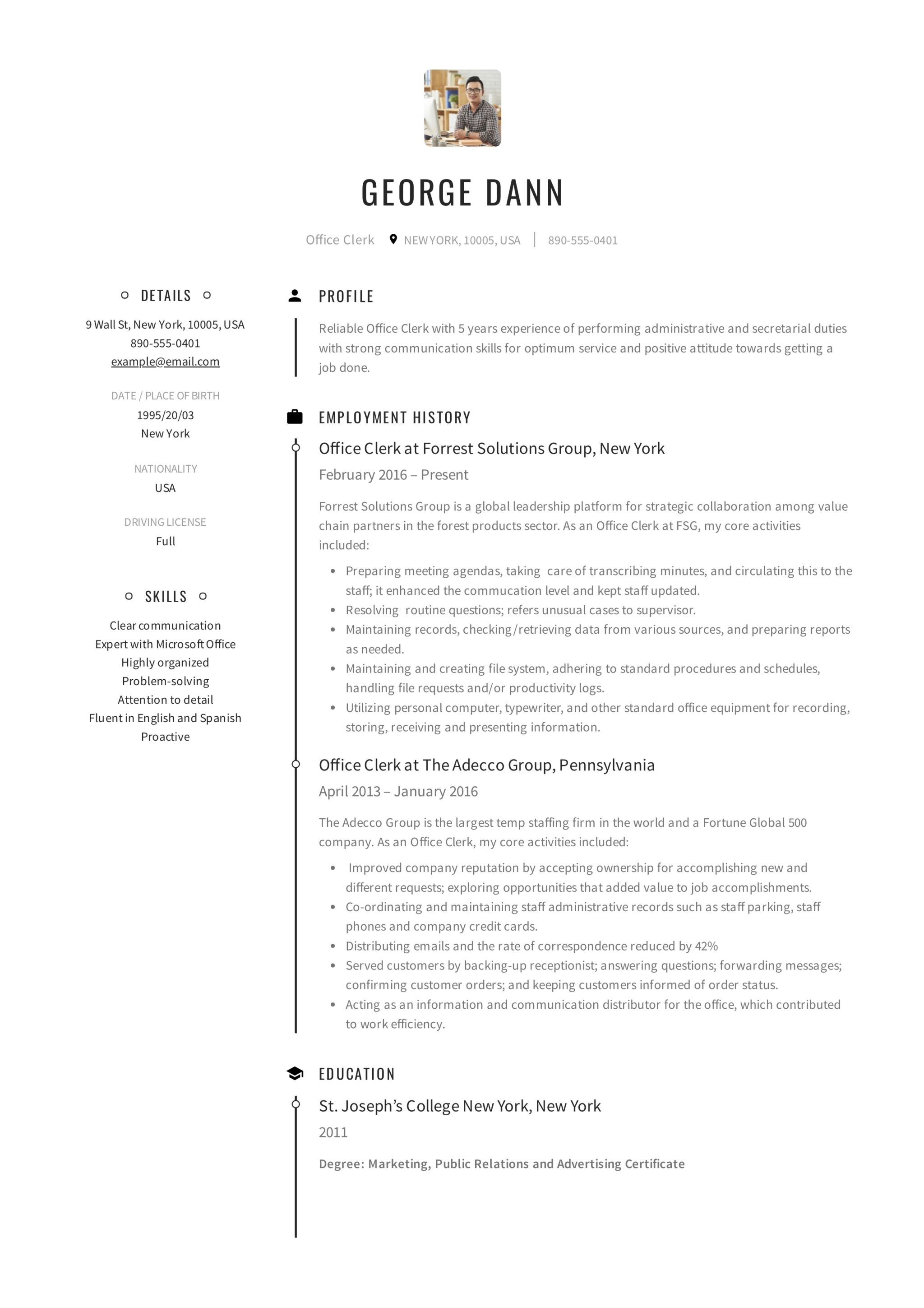 Office Clerk Resume Guide 12 Samples Pdf 2020