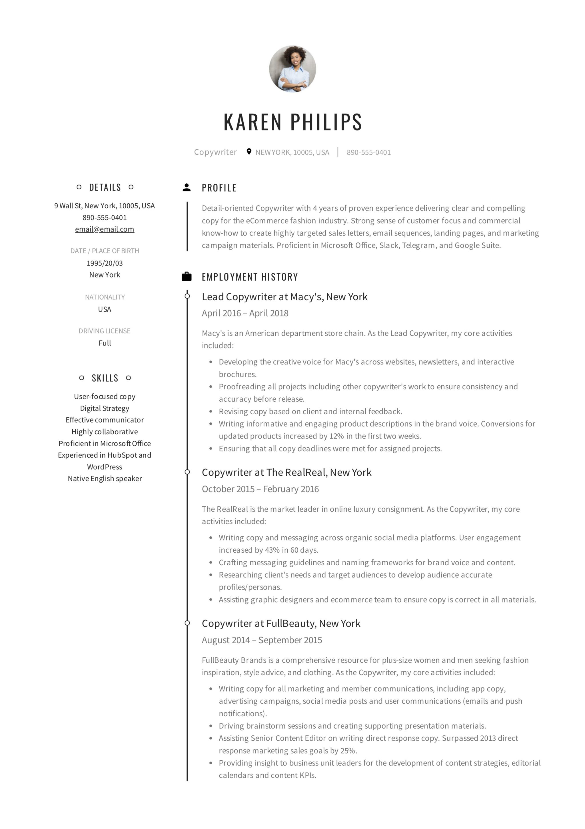 Creative Copywriter Resume Sample