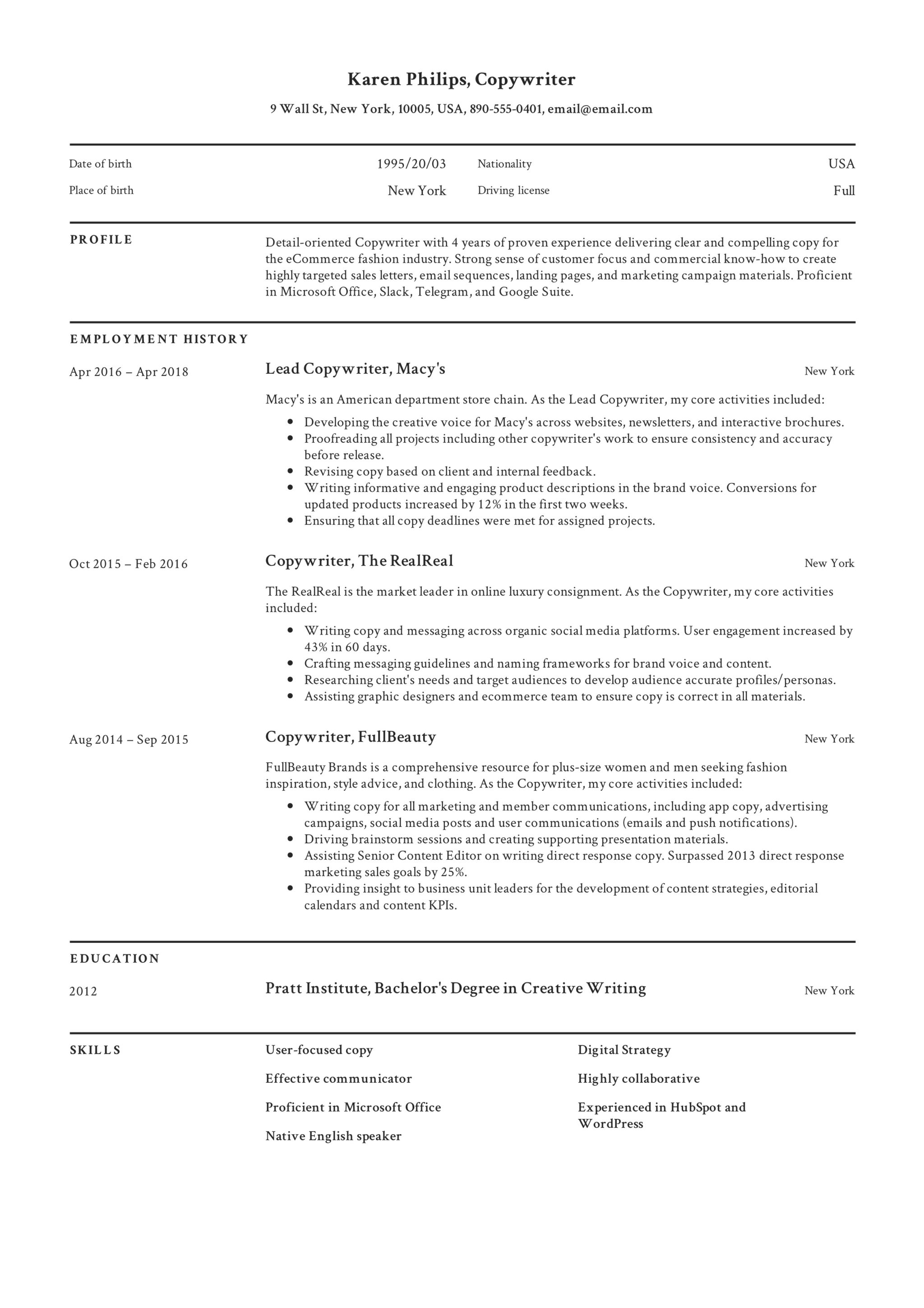 Professional Copywriter Resume