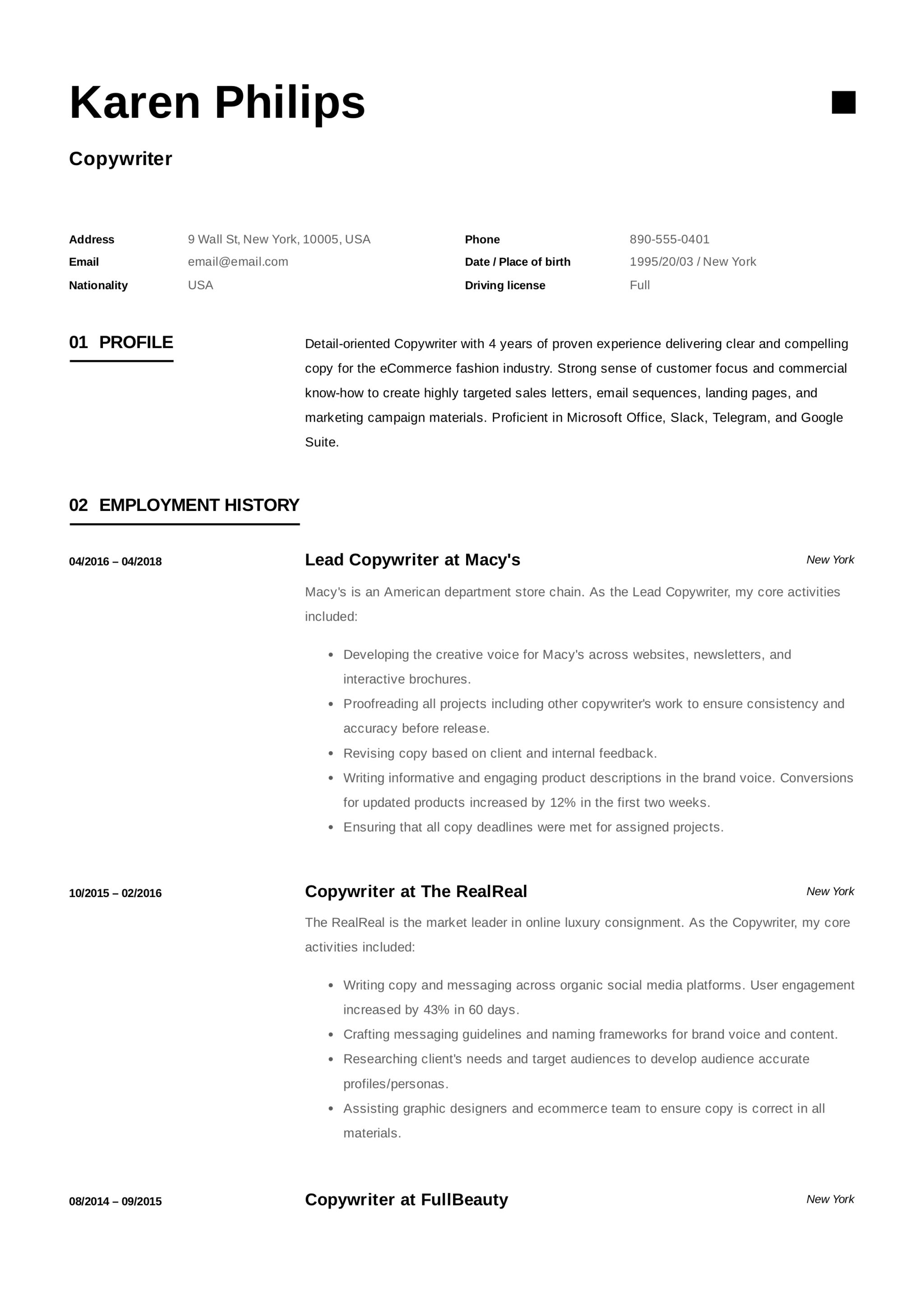 Copywriter Resume Writing Guide 18 Templates 2020 Pdf