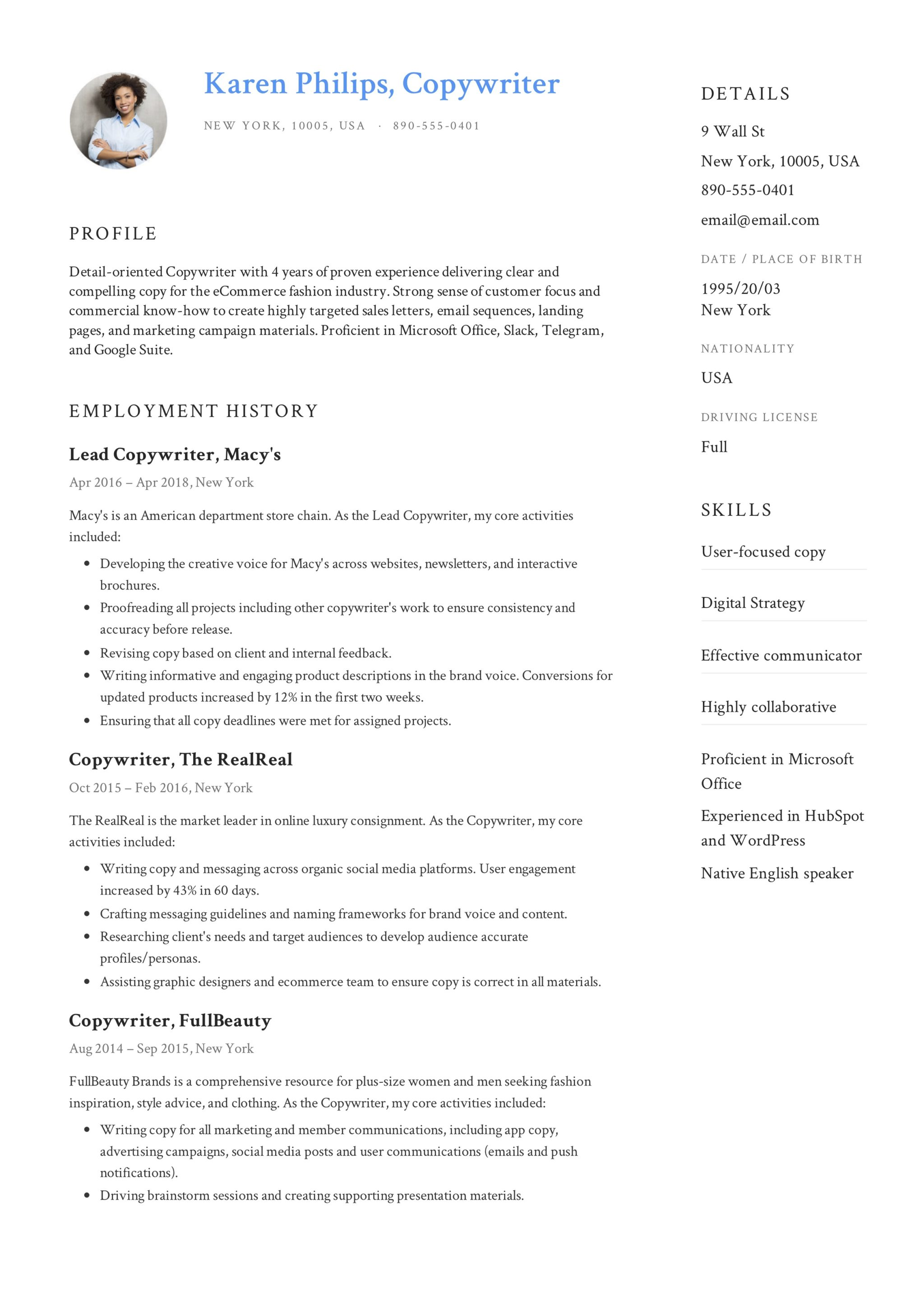 Example Resume Copywriter