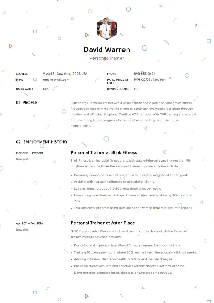 Creative Resume Personal Trainer