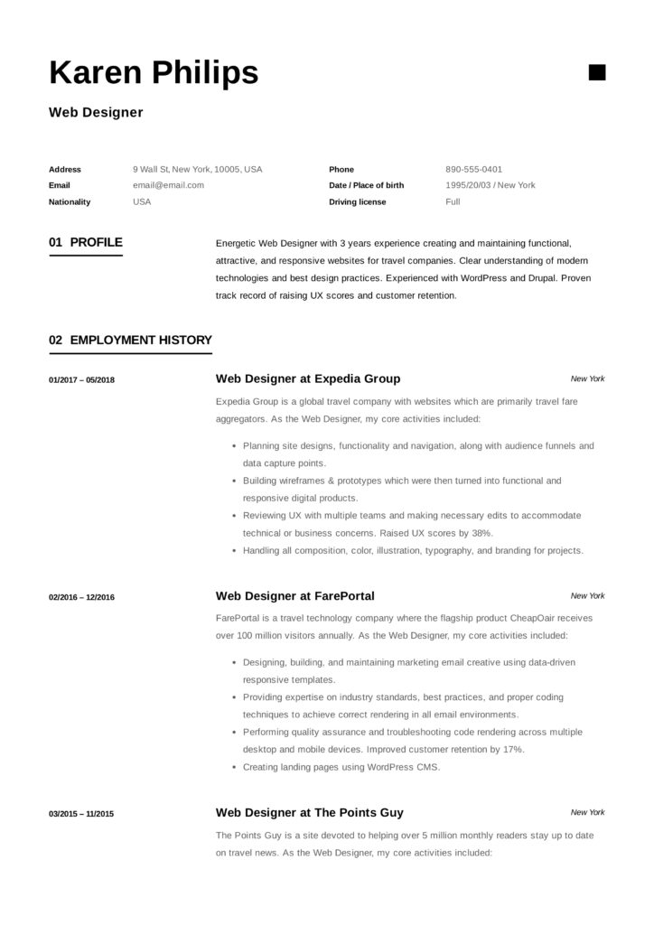 Web designer design resume