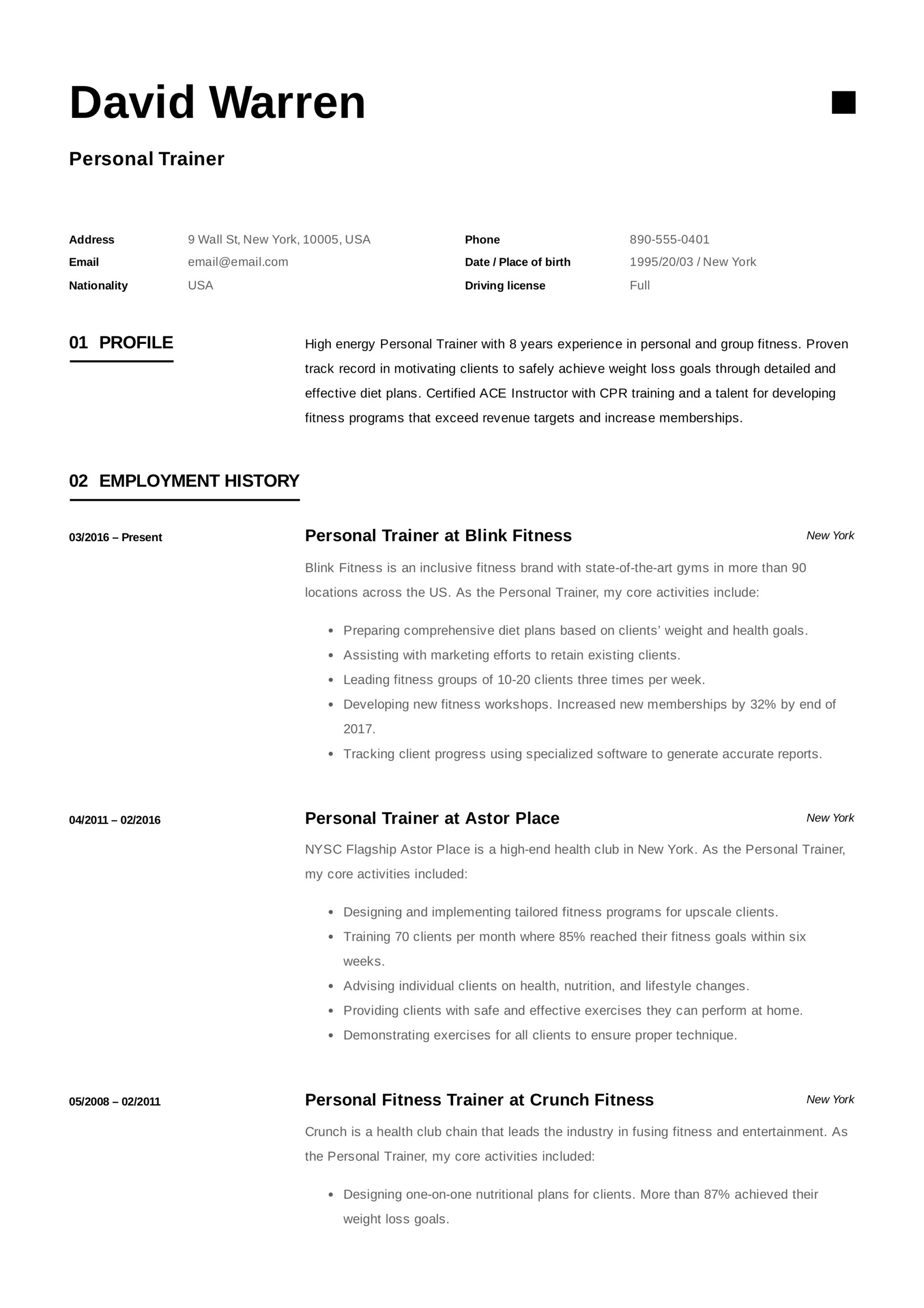 personal trainer resume  u0026 guide