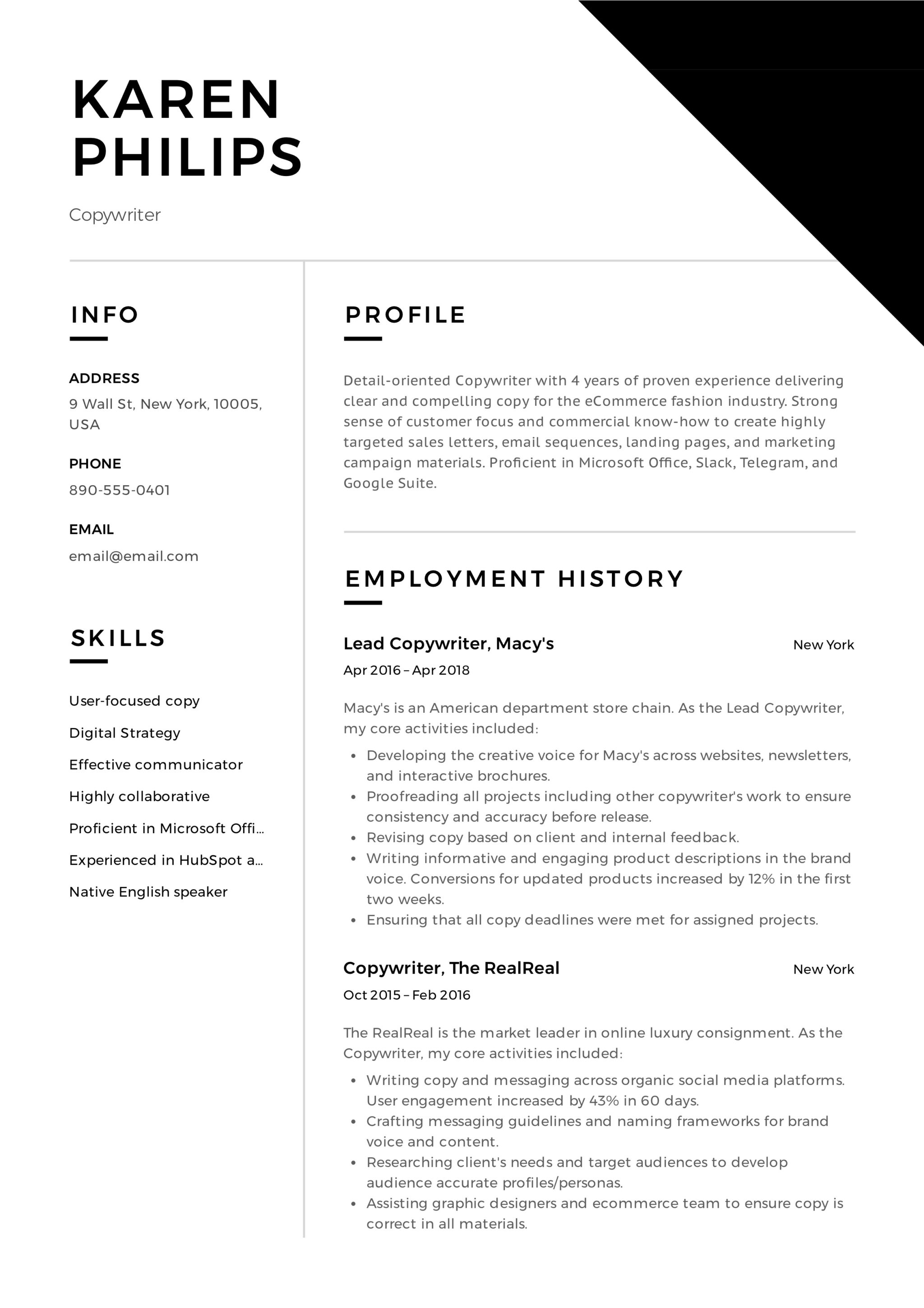 Resume Copywriter Template