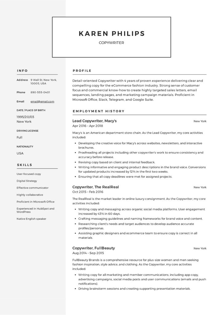Resume Template Copywriter (4)
