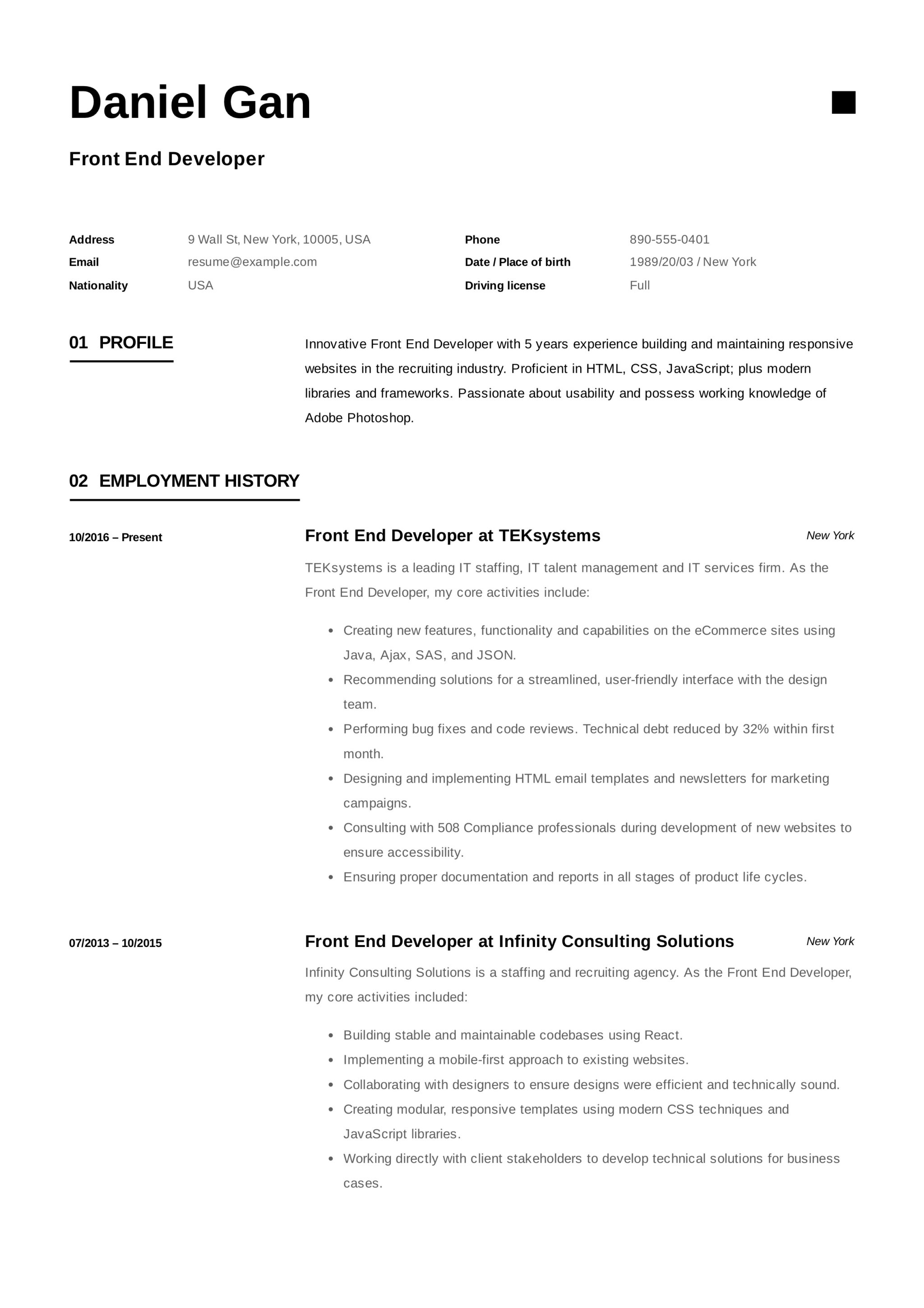 Modern-Front End Developer Resume