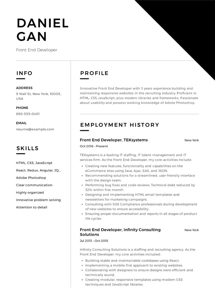 Front-End Developer Resume sample