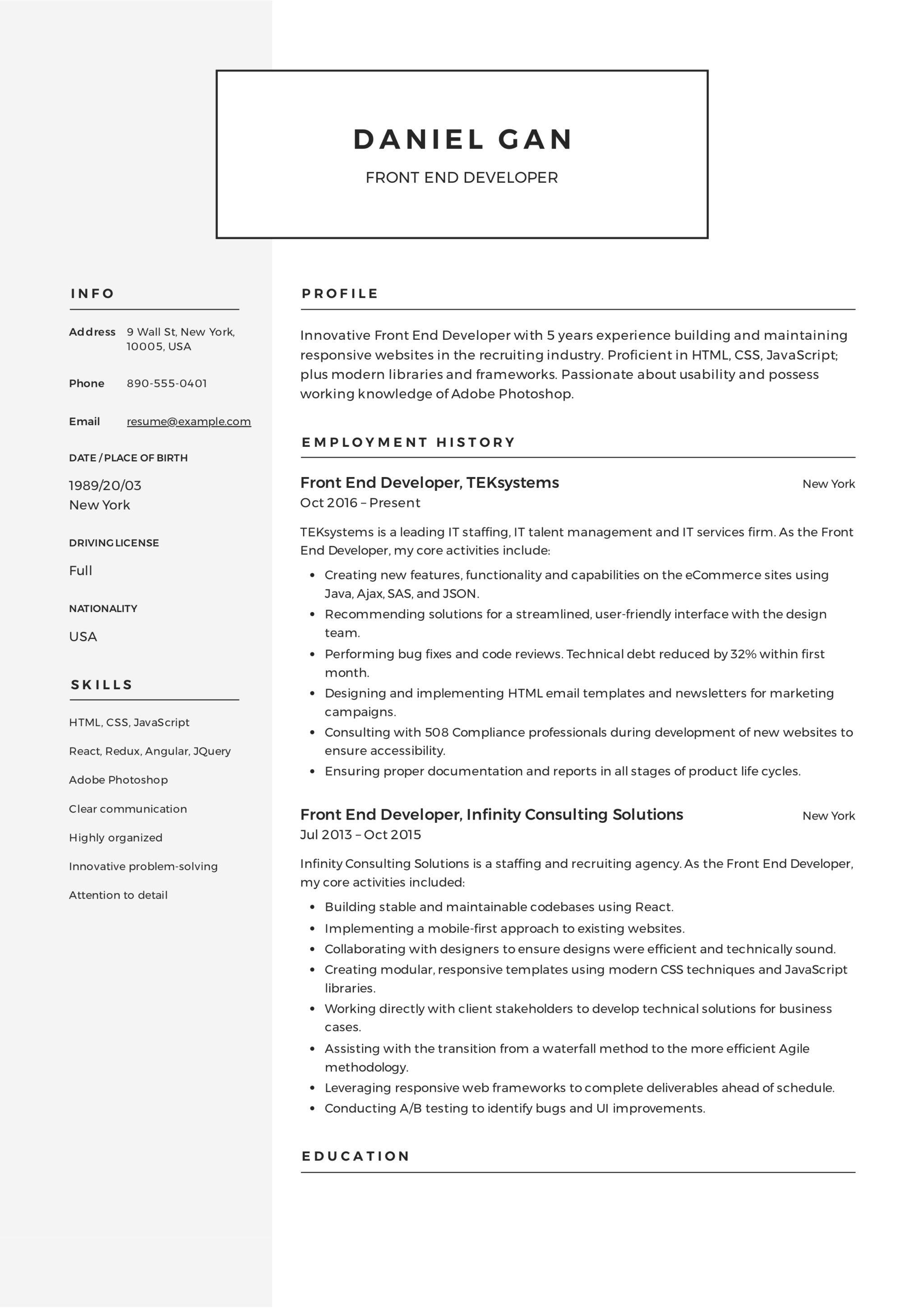Modern Front-End Developer Resume Example