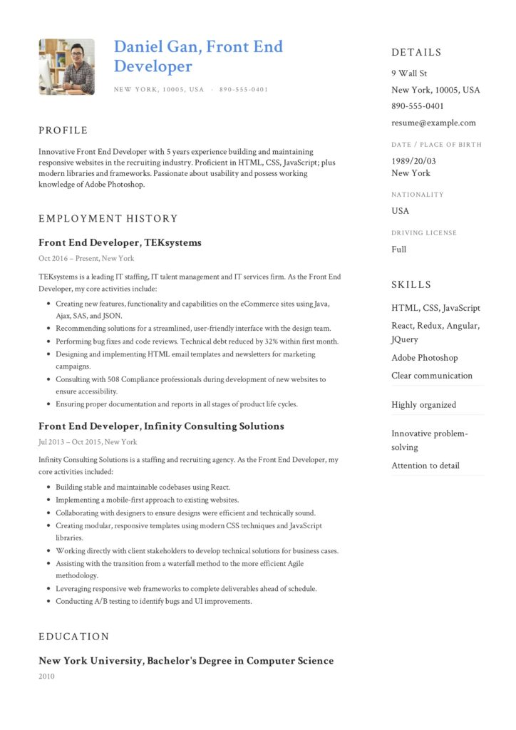 Front-End Developer Resume Sample Blue