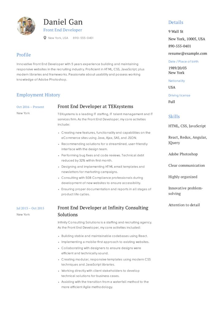 Front-End Developer Resume Sample with photo