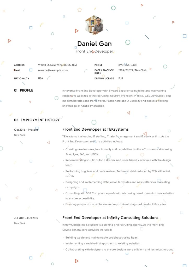 Creative Front-End Developer Resume Sample