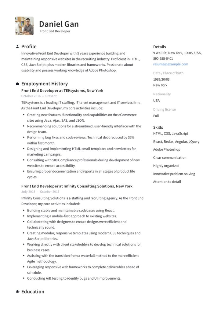 Front-End Developer Resume Example