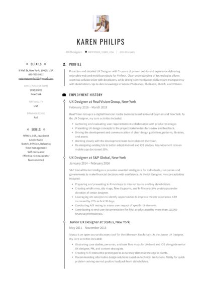 UX Designer Resume Sample - Karen Philips (1)