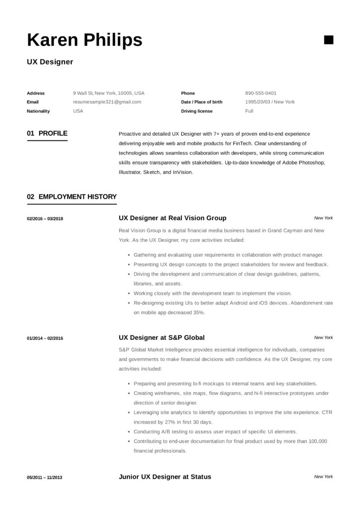 Modern UX Designer Resume Sample