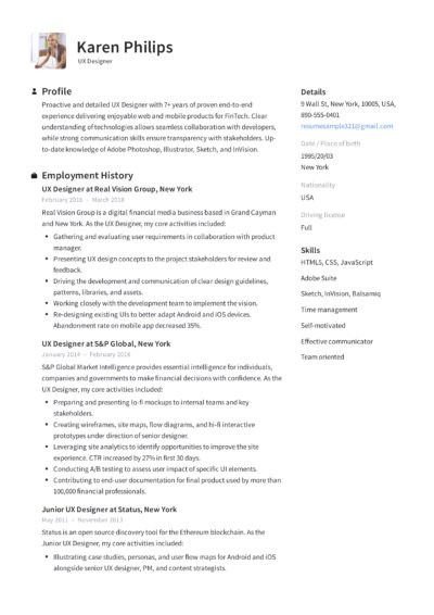 UX Designer Resume Sample - Karen Philips