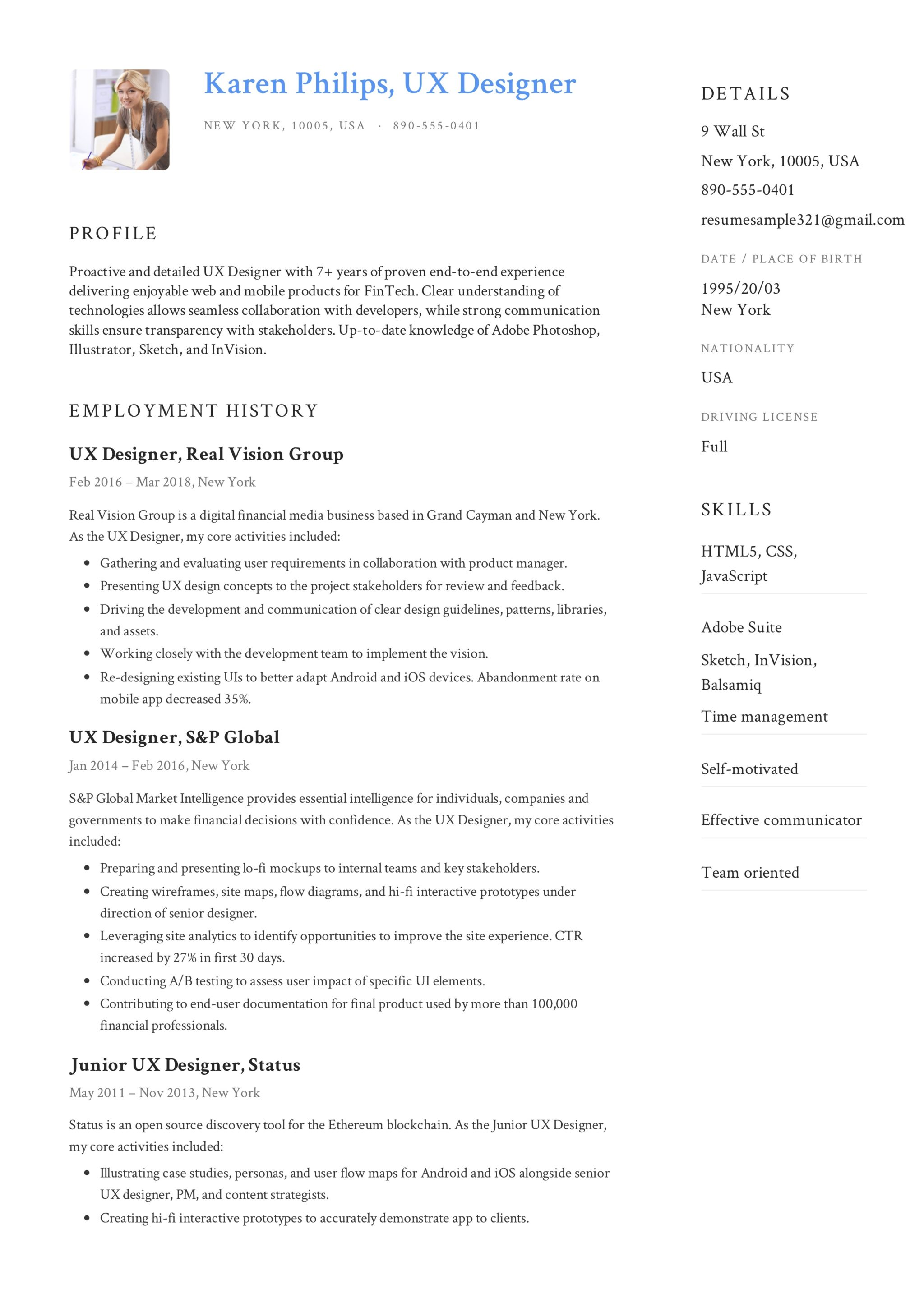 UX Designer Resume Sample - Karen Philips (5)